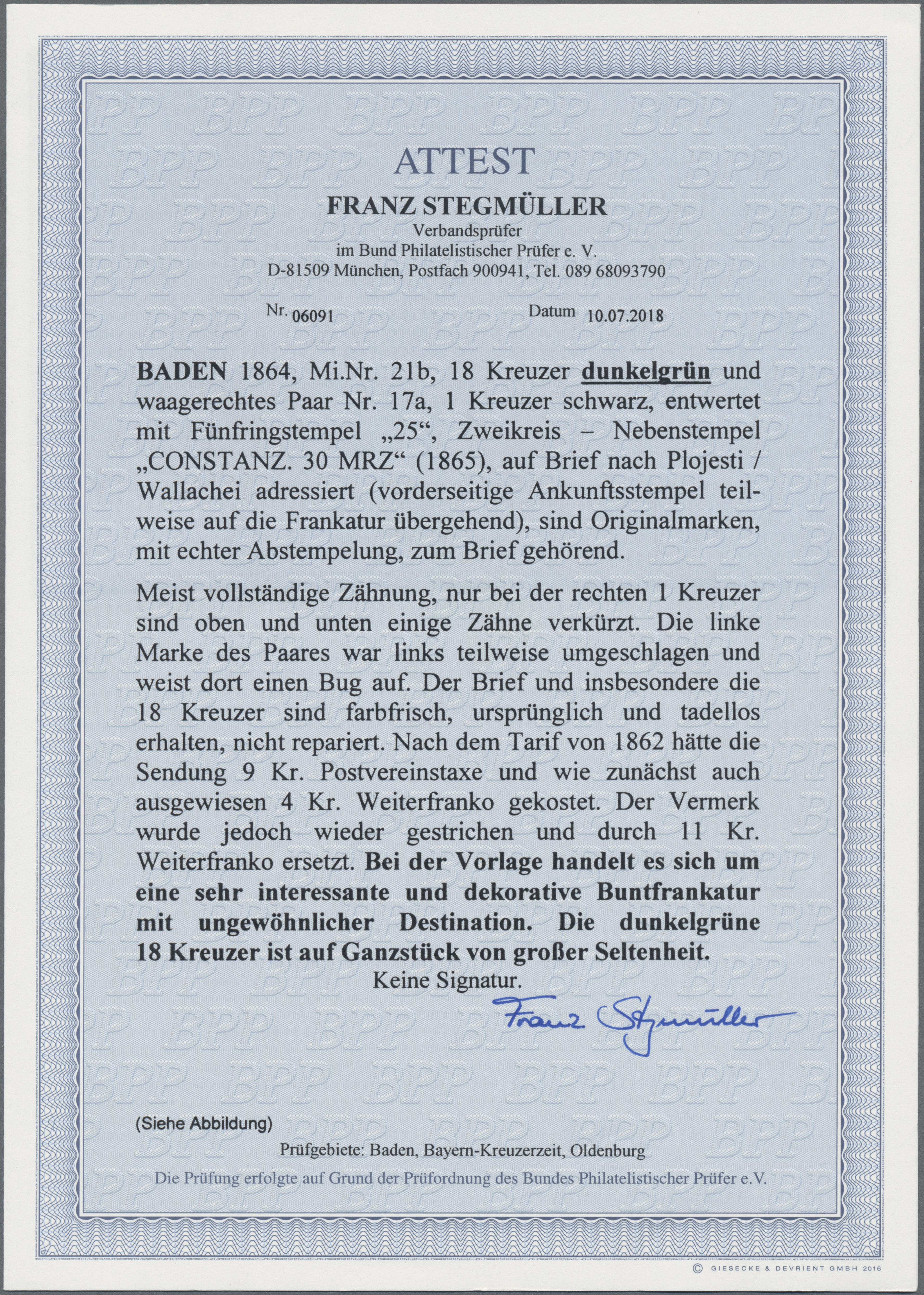 Lot 16013 - Baden - Marken und Briefe  -  Auktionshaus Christoph Gärtner GmbH & Co. KG Sale #45- GERMANY