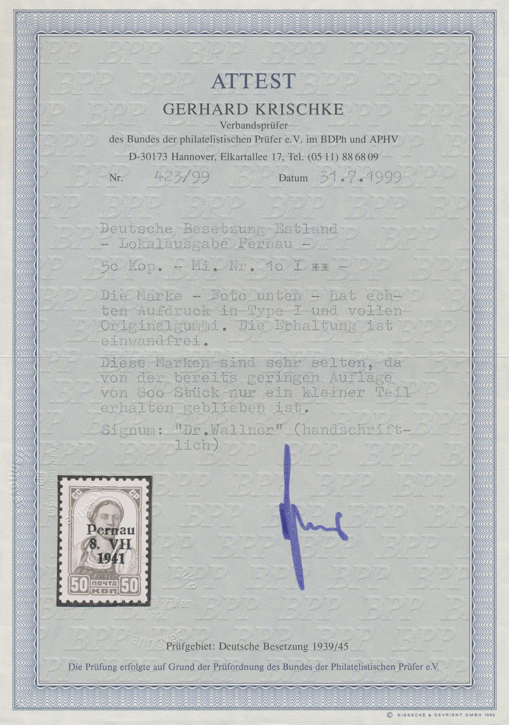 Lot 06882 - Dt. Besetzung II WK - Estland - Pernau (Pärnu)  -  Auktionshaus Christoph Gärtner GmbH & Co. KG 51th Auction - Day 3