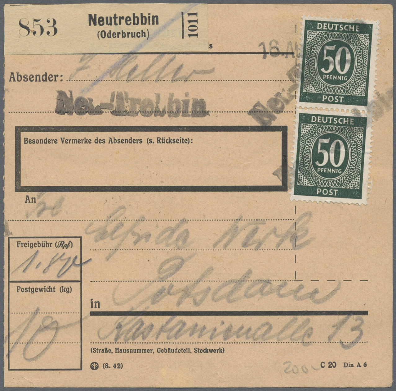 Lot 06038 - Alliierte Besetzung - Notstempel: Sowjetische Zone  -  Auktionshaus Christoph Gärtner GmbH & Co. KG Special Auction 26.- 28. May 2020 Day 3 Single Lots