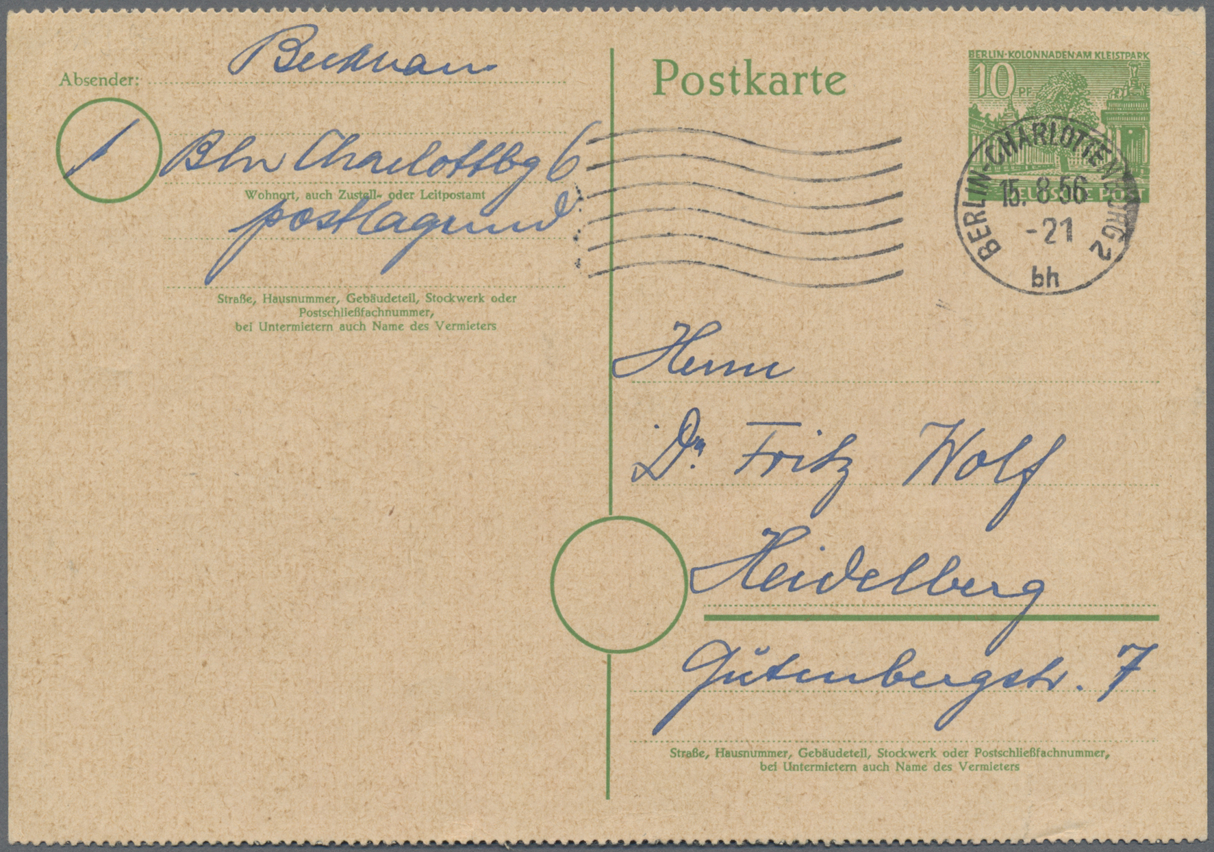 Lot 17386 - berlin - ganzsachen  -  Auktionshaus Christoph Gärtner GmbH & Co. KG Sale #46 Single lots Germany - and picture post cards
