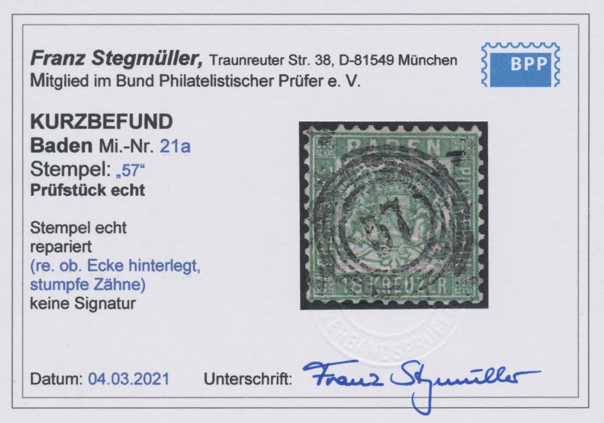 Lot 05011 - Baden - Marken und Briefe  -  Auktionshaus Christoph Gärtner GmbH & Co. KG 51th Auction - Day 3
