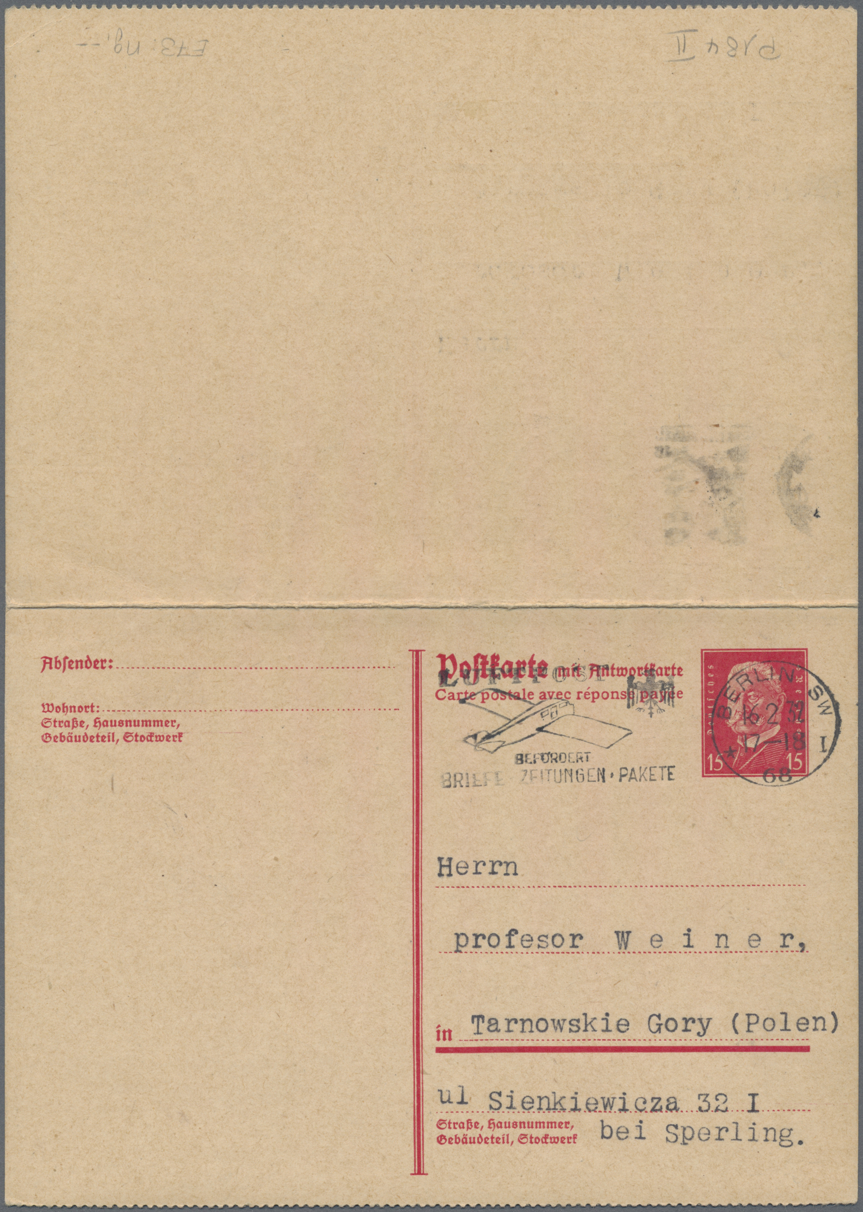 Lot 15037 - Deutsches Reich - Ganzsachen  -  Auktionshaus Christoph Gärtner GmbH & Co. KG Sale #46 Single lots Germany - and picture post cards
