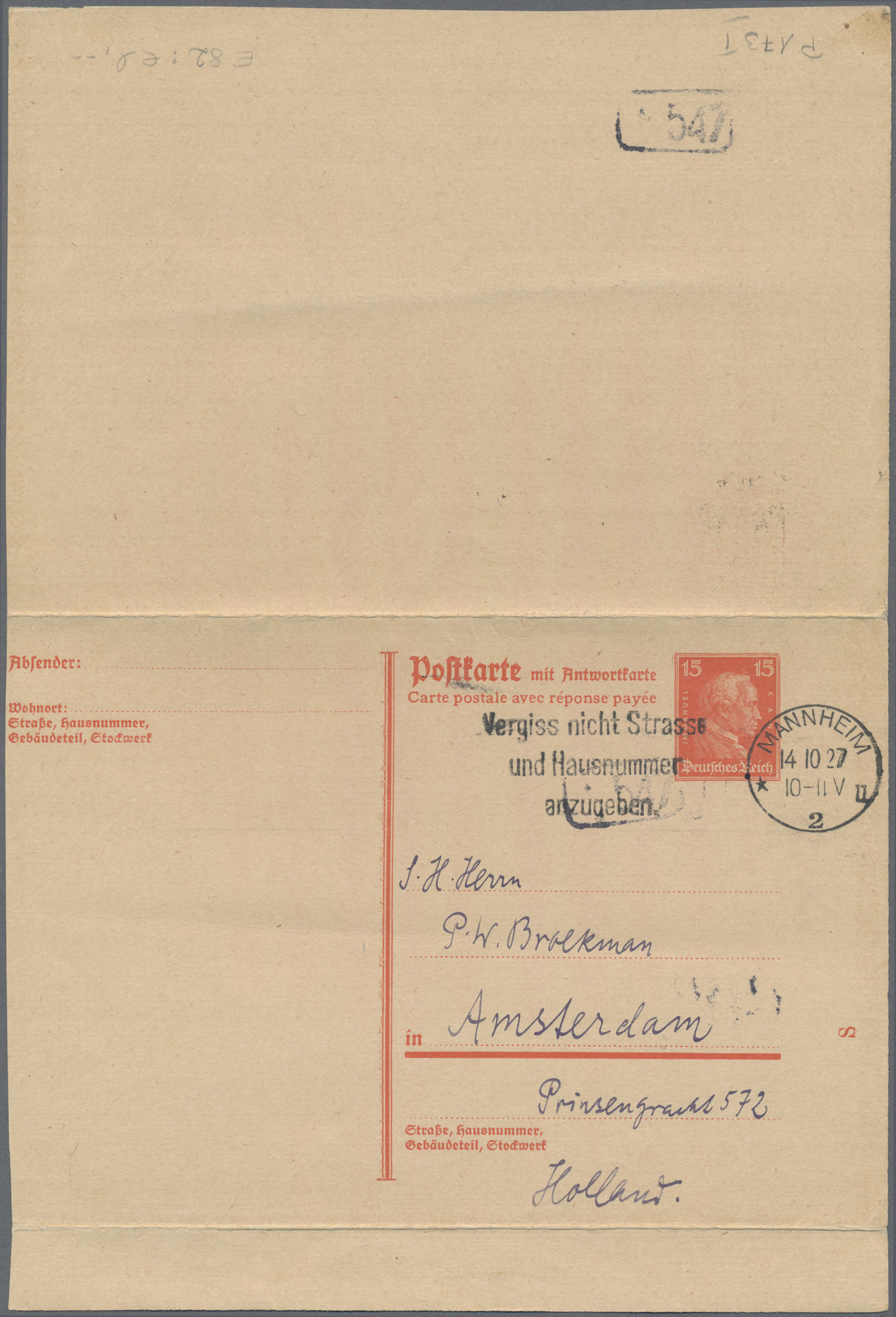 Lot 15027 - Deutsches Reich - Ganzsachen  -  Auktionshaus Christoph Gärtner GmbH & Co. KG Sale #46 Single lots Germany - and picture post cards