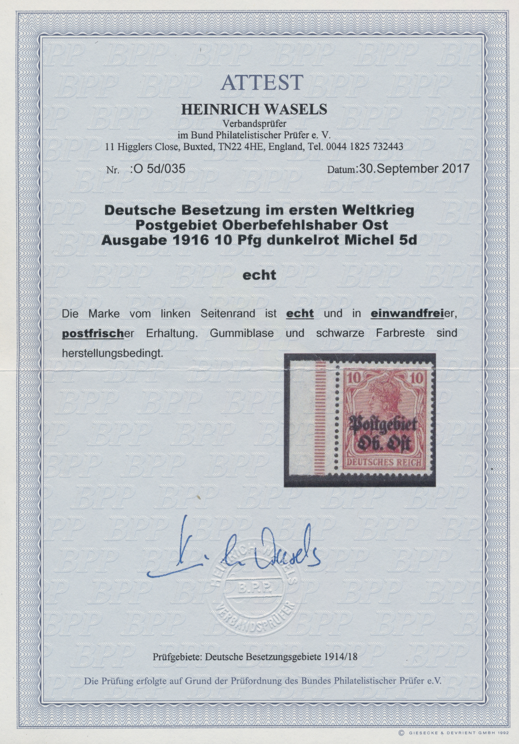 Lot 00175 - Deutsche Besetzung I. WK: Postgebiet Ober. Ost  -  Auktionshaus Christoph Gärtner GmbH & Co. KG Intenational Rarities and contains lots from the collection of Peter Zgonc