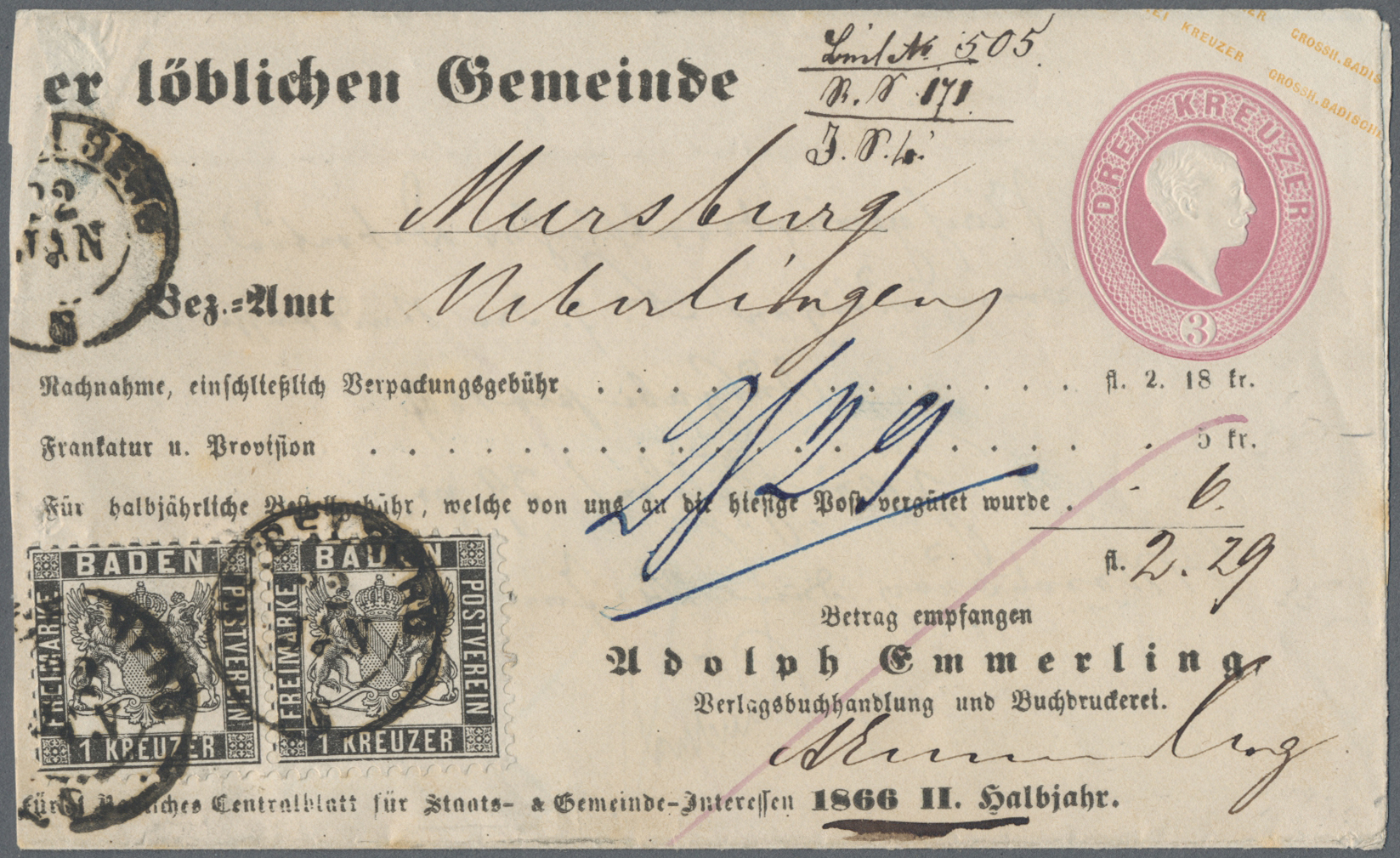 Lot 13512 - Baden - Ganzsachen  -  Auktionshaus Christoph Gärtner GmbH & Co. KG Sale #46 Single lots Germany - and picture post cards