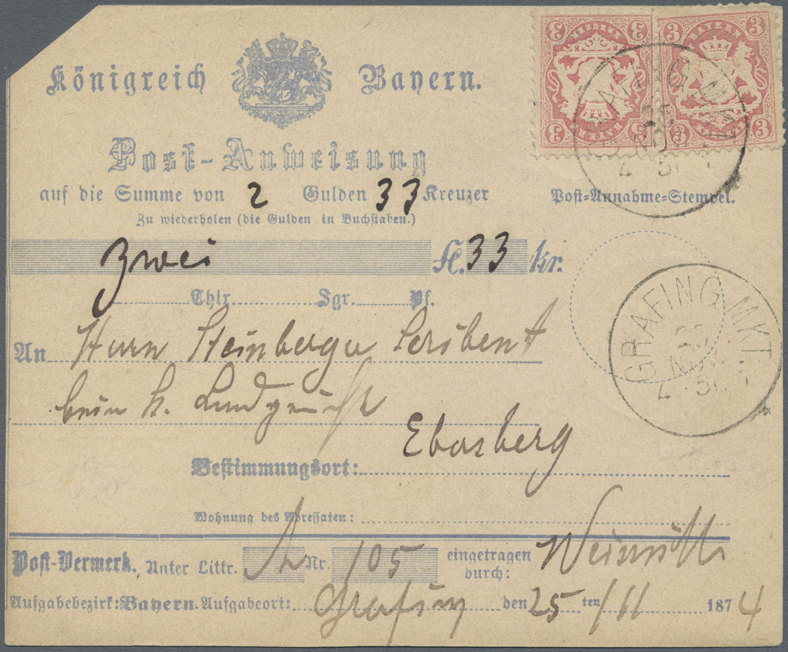 Lot 05705 - Bayern - Marken und Briefe  -  Auktionshaus Christoph Gärtner GmbH & Co. KG Special Auction 26.- 28. May 2020 Day 3 Single Lots