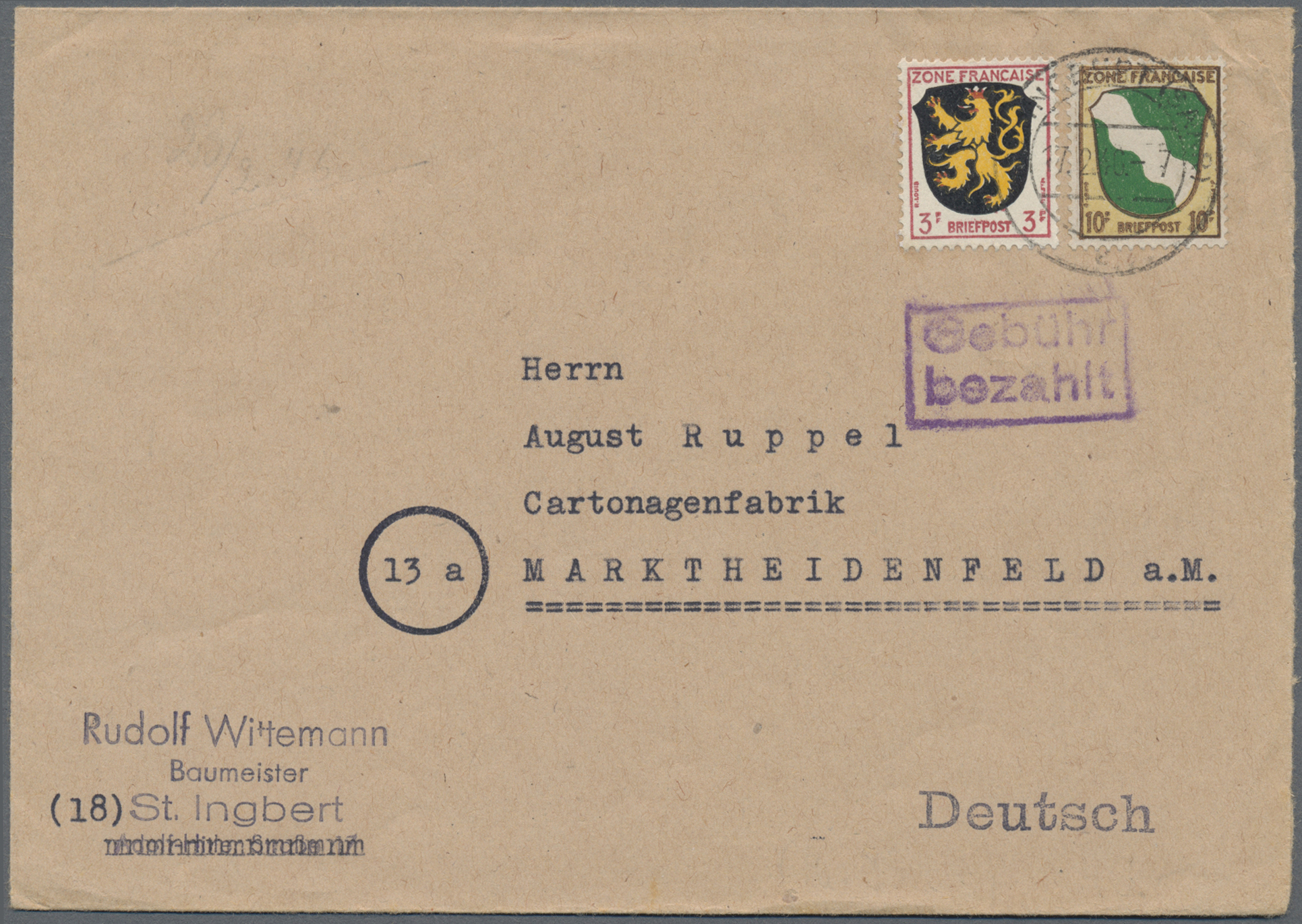 Lot 37496 - französische zone  -  Auktionshaus Christoph Gärtner GmbH & Co. KG Sale #44 Collections Germany