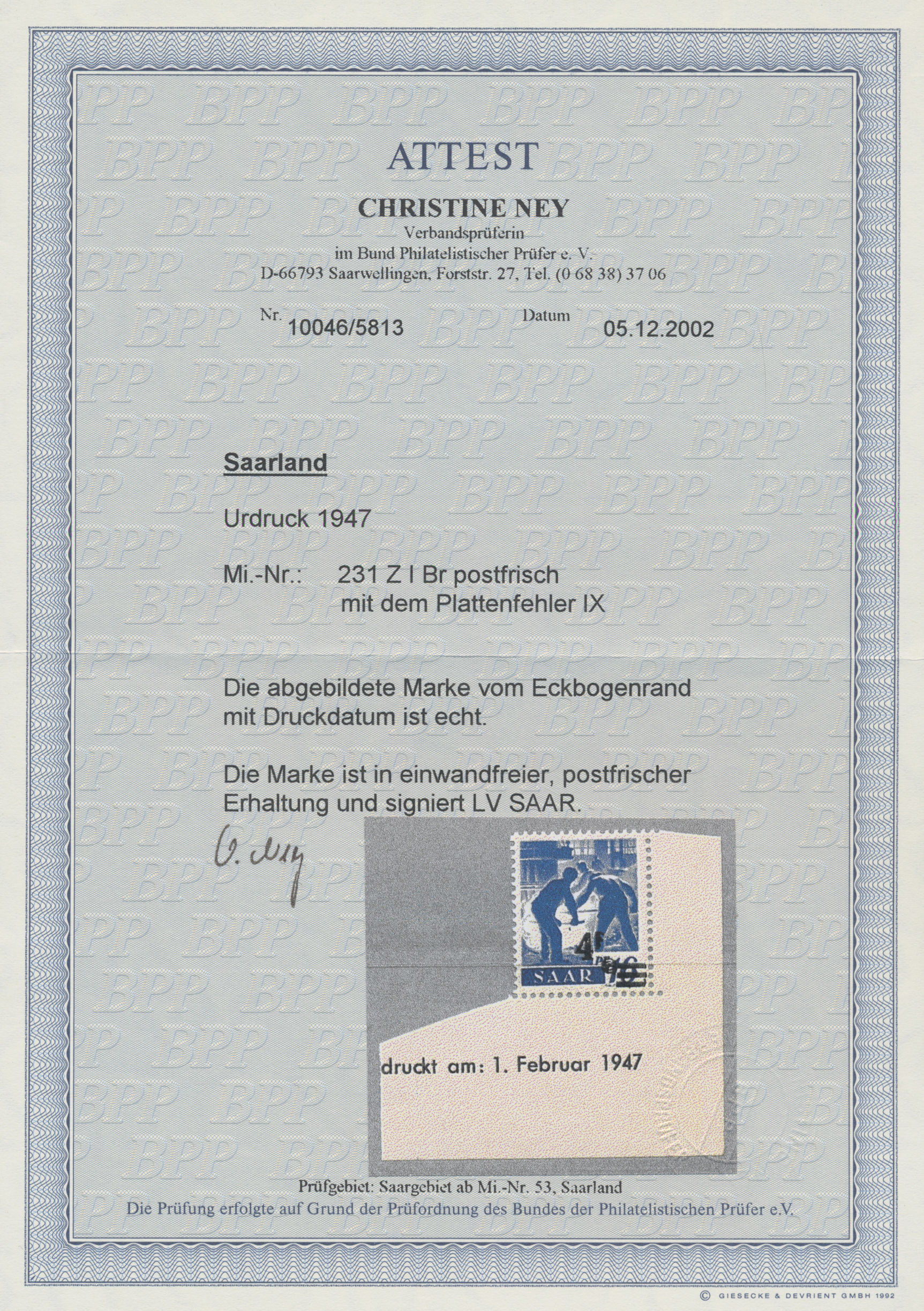 Lot 01404 - Saarland (1947/56)  -  Auktionshaus Christoph Gärtner GmbH & Co. KG 50th Auction Anniversary Auction - Day 3