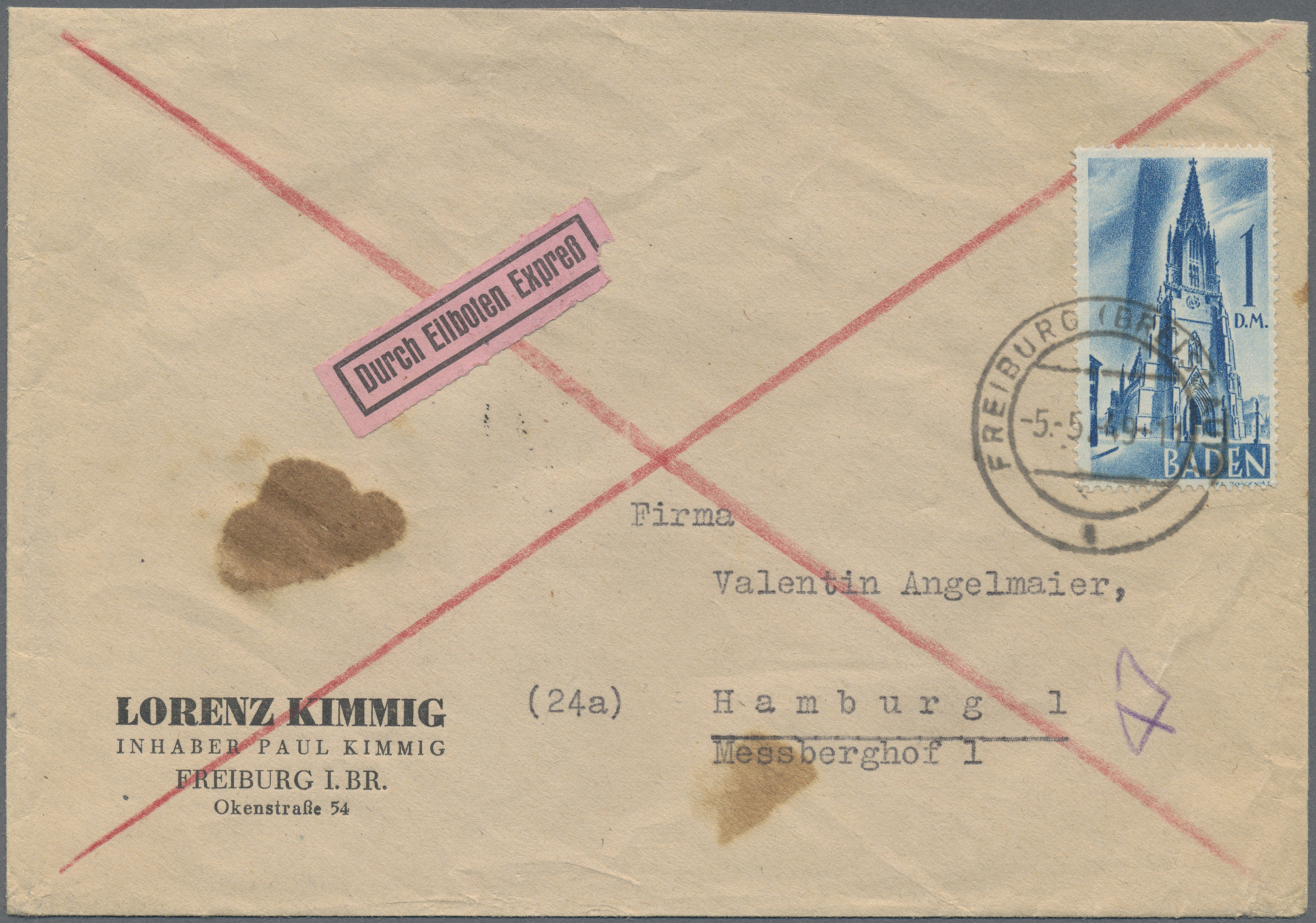 Lot 24931 - französische zone - baden  -  Auktionshaus Christoph Gärtner GmbH & Co. KG Single lots Germany + Picture Postcards. Auction #39 Day 5