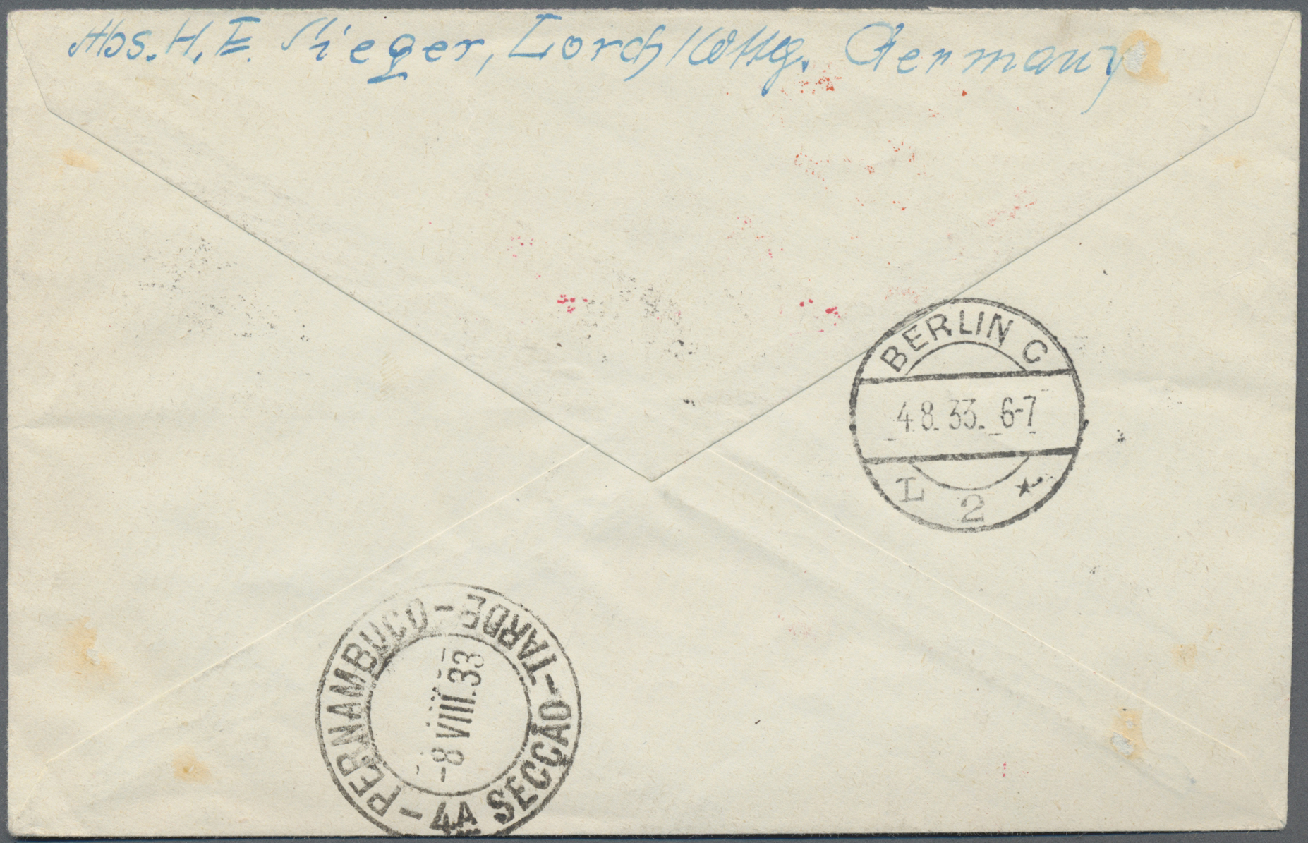 Lot 13528 - zeppelinpost deutschland  -  Auktionshaus Christoph Gärtner GmbH & Co. KG Sale #43 Asia, Overseas, Air & Ships, Mail, Spain, Day 4