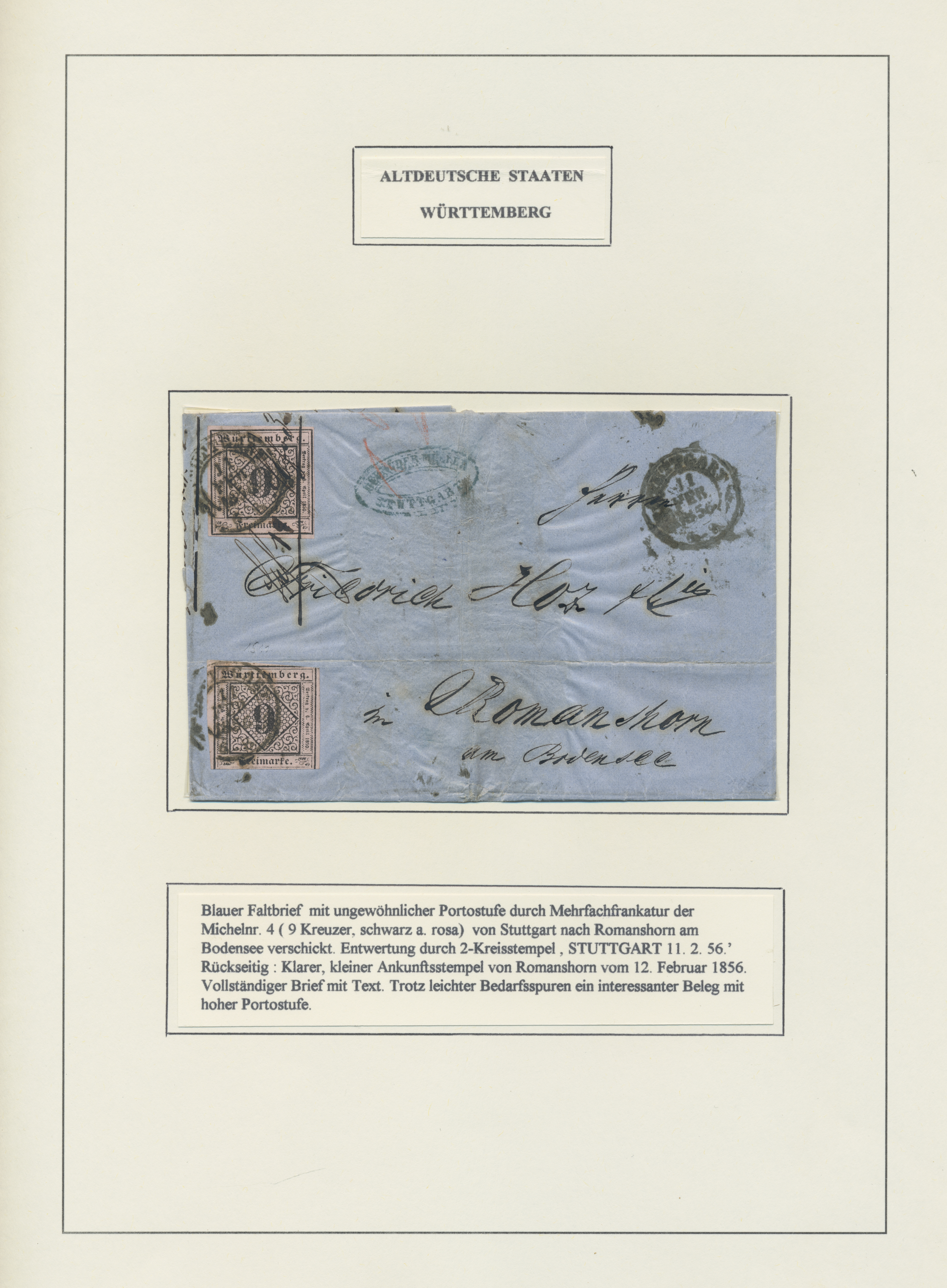 Lot 36315 - Württemberg - Marken und Briefe  -  Auktionshaus Christoph Gärtner GmbH & Co. KG Sale #44 Collections Germany