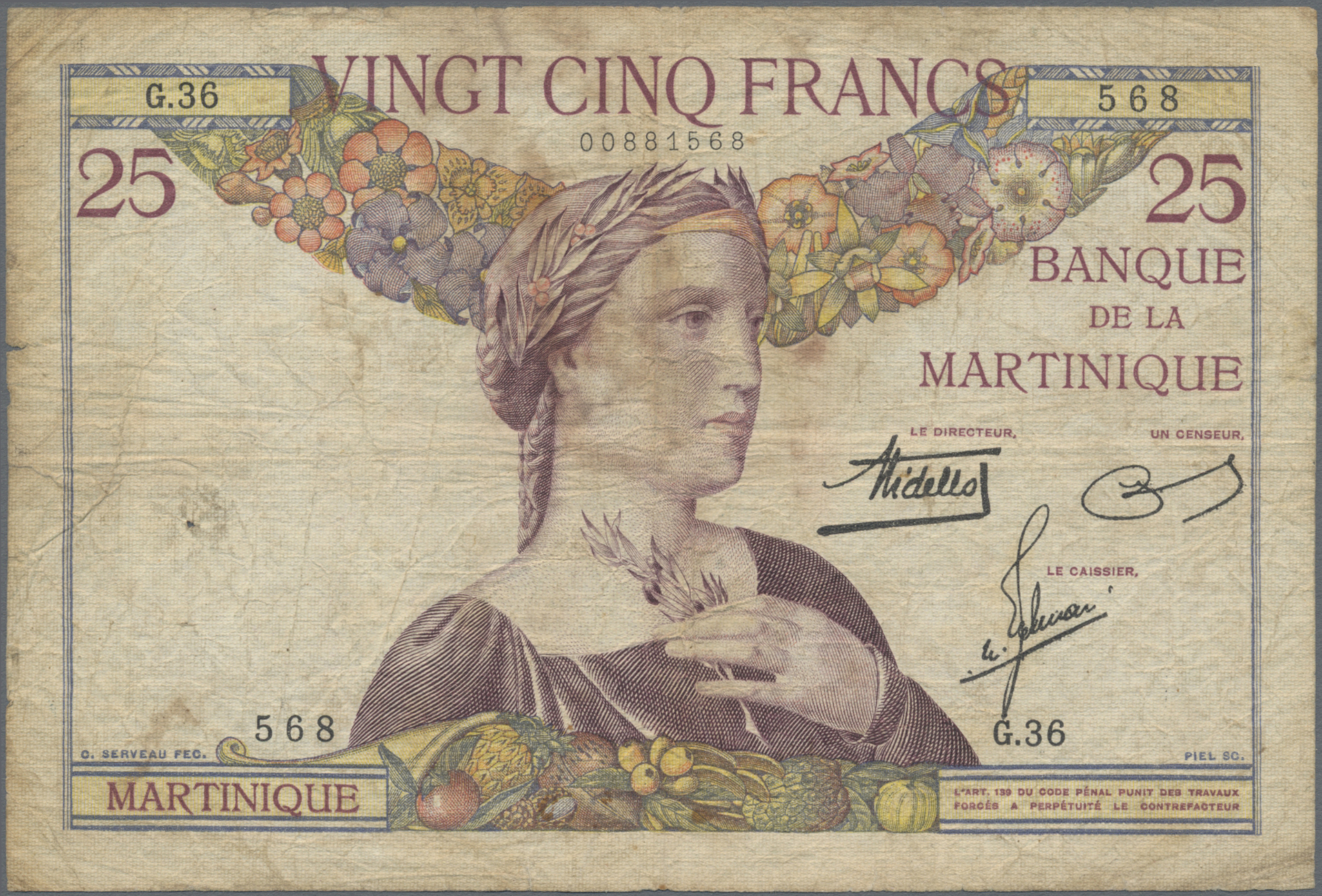 Lot 00522 - Martinique | Banknoten  -  Auktionshaus Christoph Gärtner GmbH & Co. KG Sale #48 The Banknotes