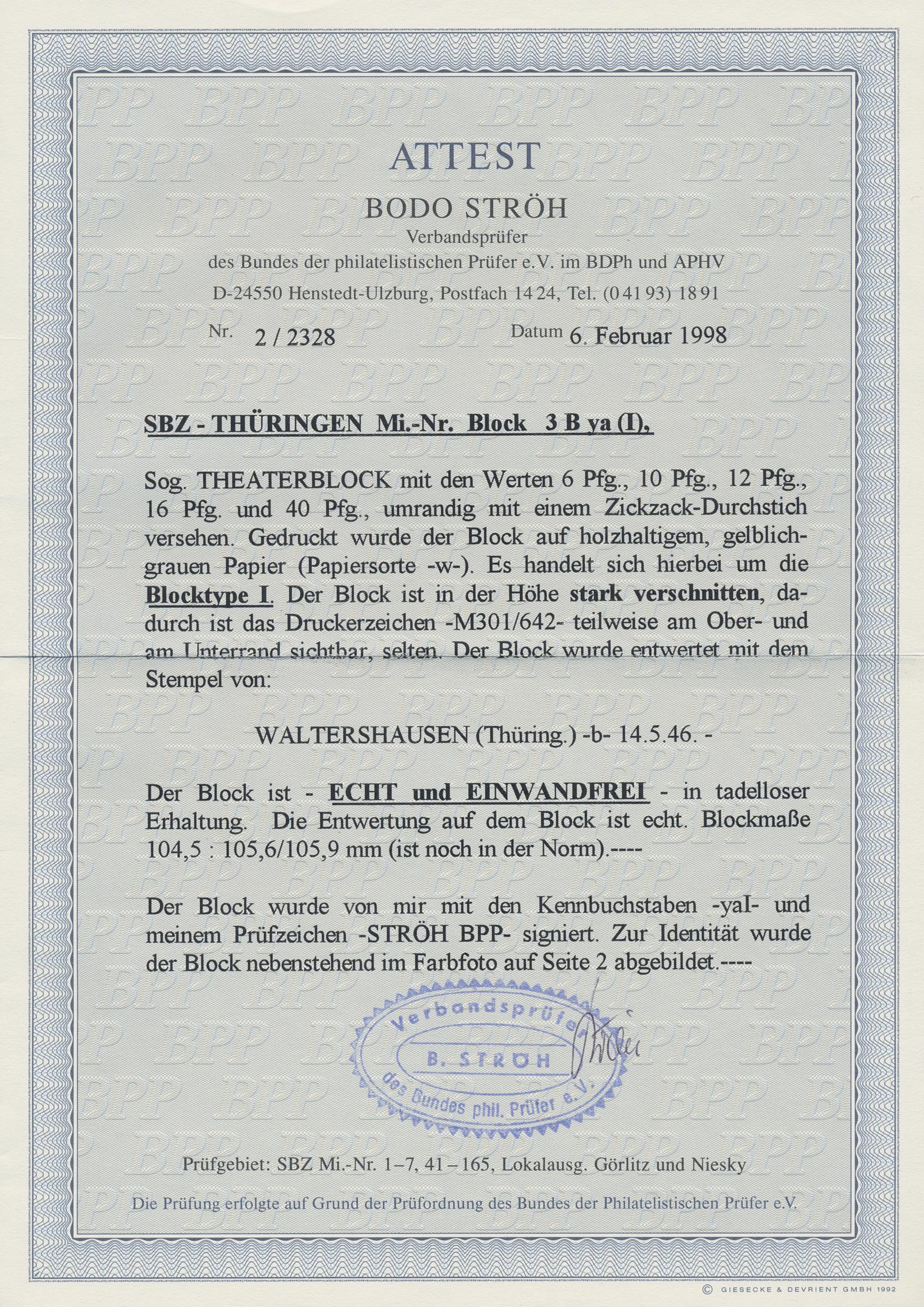 Lot 07188 - Sowjetische Zone - Thüringen  -  Auktionshaus Christoph Gärtner GmbH & Co. KG 51th Auction - Day 3
