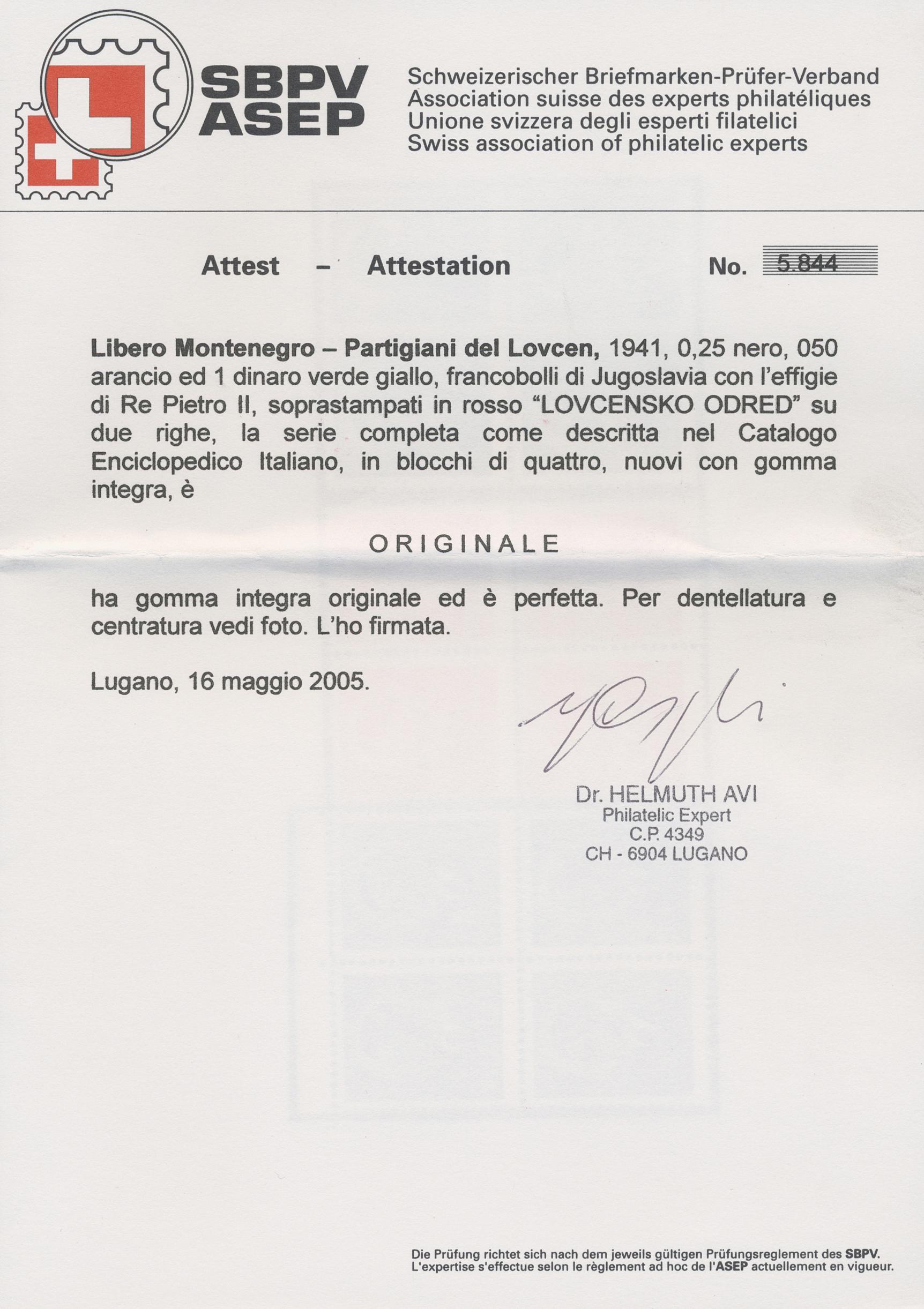Lot 09096 - Italienische Besetzung 1941/43 - Montenegro  -  Auktionshaus Christoph Gärtner GmbH & Co. KG Sale #48 The Single Lots Philatelie
