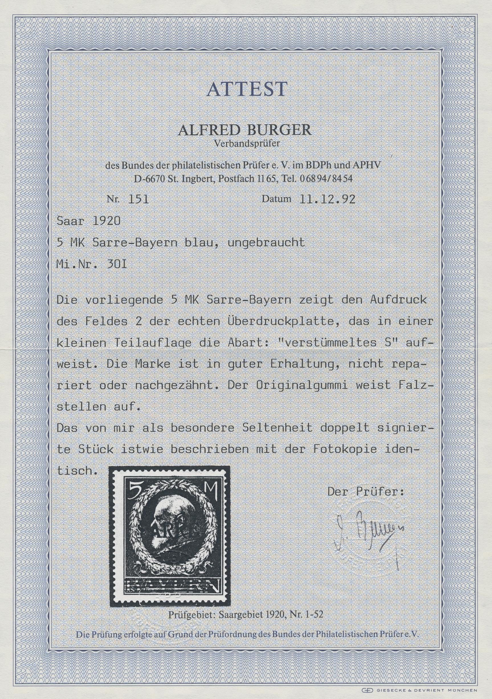 Lot 05998 - Deutsche Abstimmungsgebiete: Saargebiet  -  Auktionshaus Christoph Gärtner GmbH & Co. KG Special Auction 26.- 28. May 2020 Day 3 Single Lots