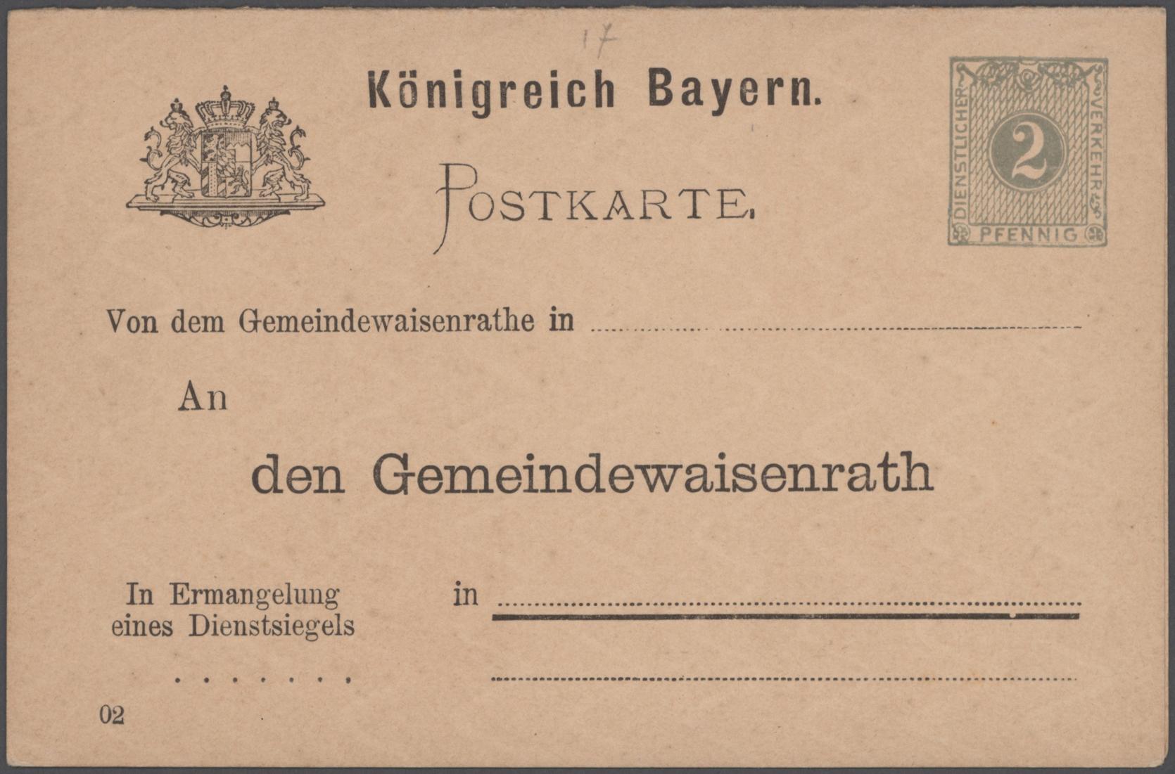 Lot 22800 - bayern - ganzsachen  -  Auktionshaus Christoph Gärtner GmbH & Co. KG 50th Auction Anniversary Auction - Day 7