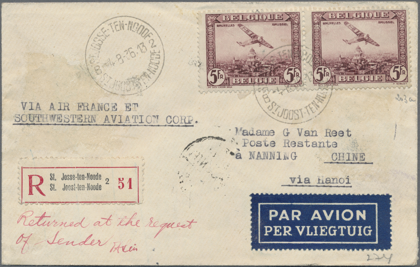 Lot 10282 - China - Flugpost  -  Auktionshaus Christoph Gärtner GmbH & Co. KG Sale #47 Single lots: Asia, Thematics, Overseas, Europe
