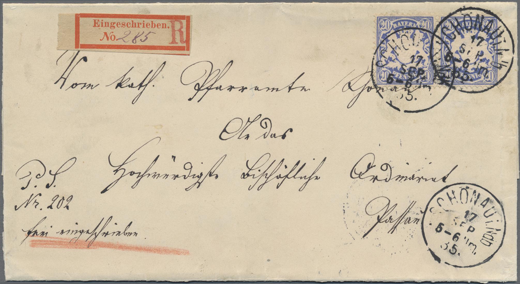 Lot 02421 - Bayern - Marken und Briefe  -  Auktionshaus Christoph Gärtner GmbH & Co. KG 50th Auction Anniversary Auction - Day 7