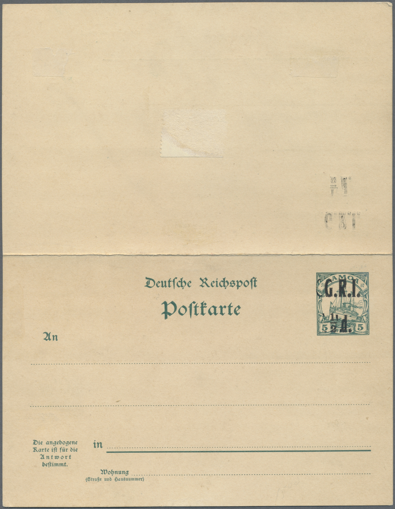 Lot 22554 - Deutsche Kolonien - Samoa - Britische Besetzung - Ganzsachen  -  Auktionshaus Christoph Gärtner GmbH & Co. KG Single lots Germany + Picture Postcards. Auction #39 Day 5