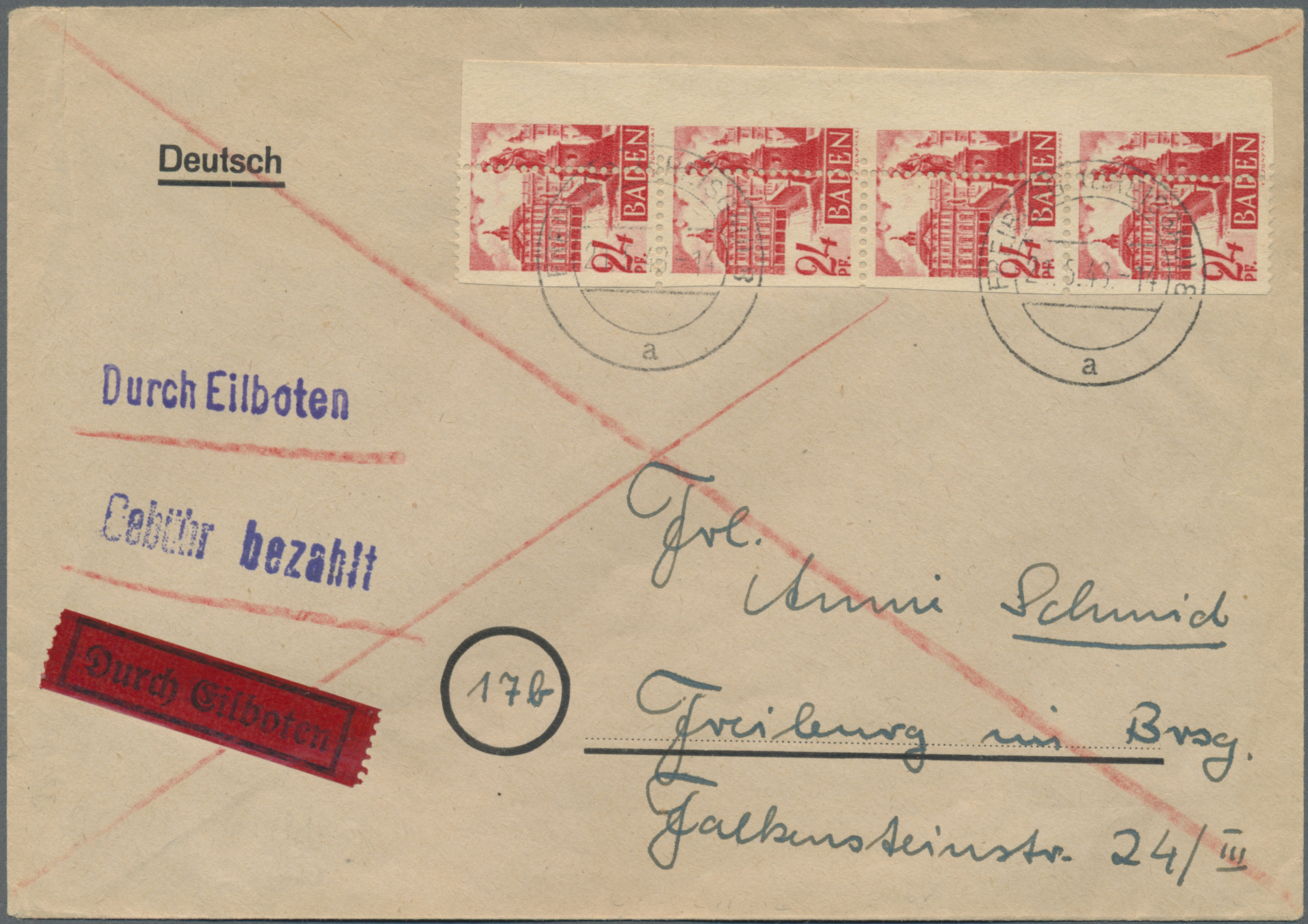 Lot 24924 - französische zone - baden  -  Auktionshaus Christoph Gärtner GmbH & Co. KG Single lots Germany + Picture Postcards. Auction #39 Day 5