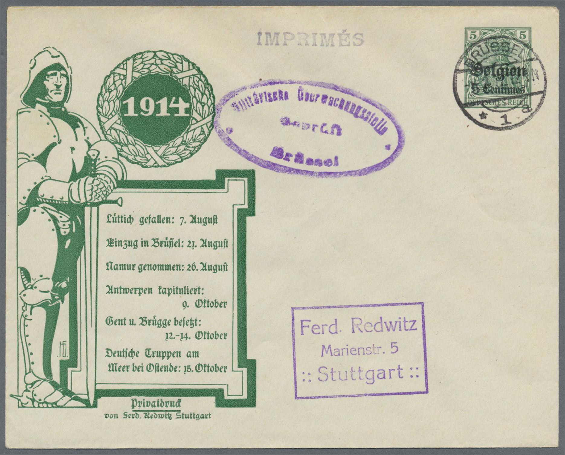 Lot 22647 - Deutsche Besetzung I. WK: Landespost in Belgien - Ganzsachen  -  Auktionshaus Christoph Gärtner GmbH & Co. KG Single lots Germany + Picture Postcards. Auction #39 Day 5