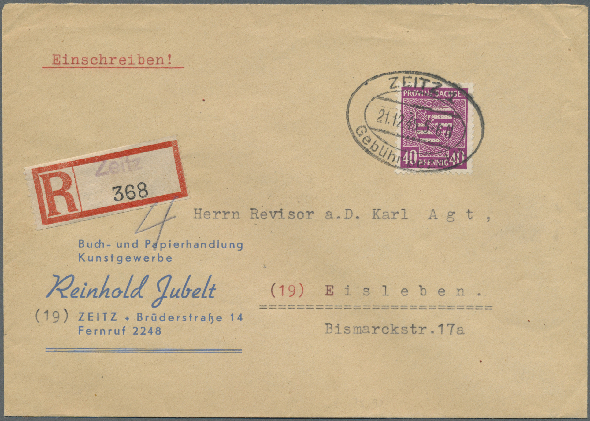 Lot 24141 - Sowjetische Zone - Provinz Sachsen  -  Auktionshaus Christoph Gärtner GmbH & Co. KG Single lots Germany + Picture Postcards. Auction #39 Day 5