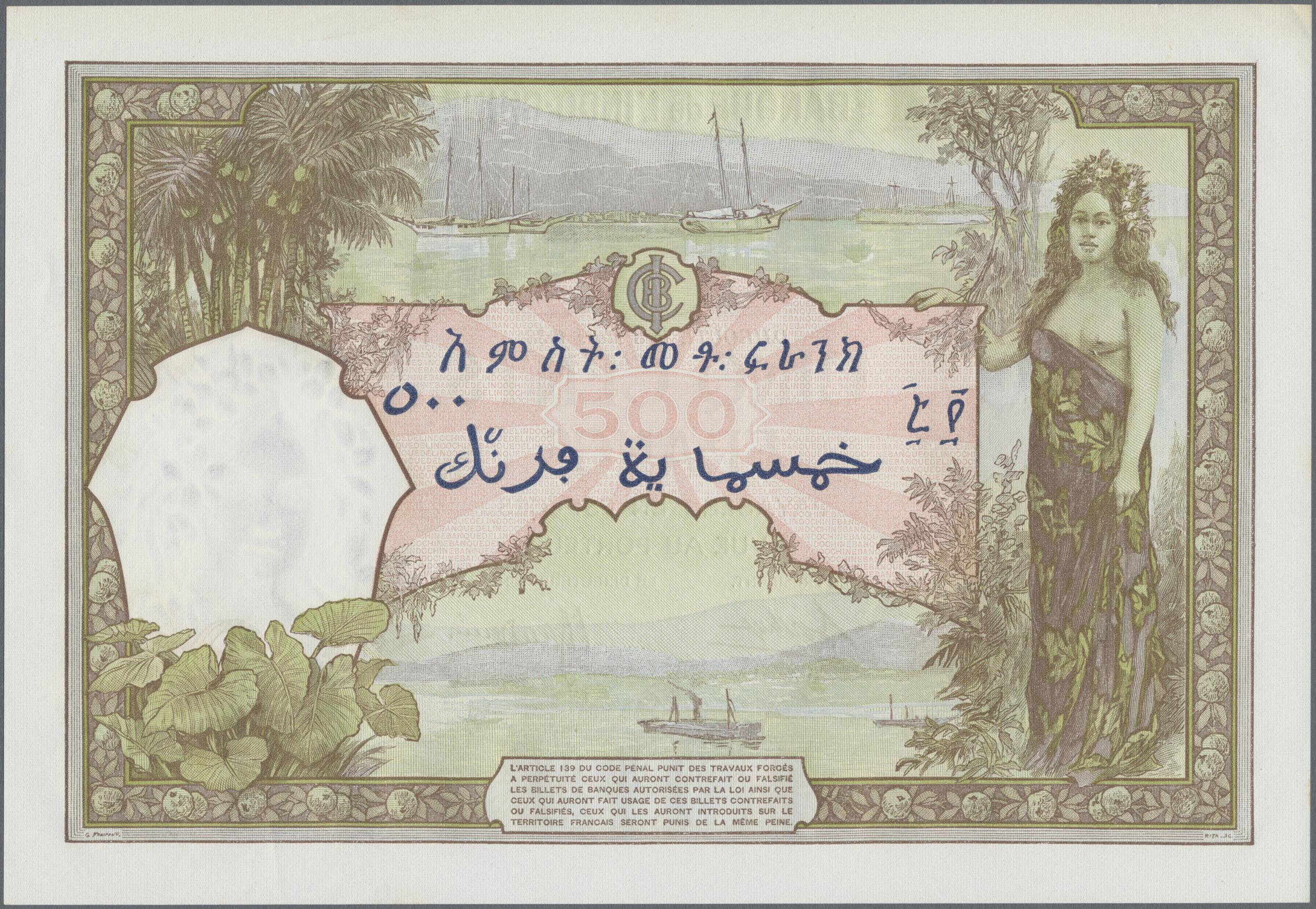 Lot 00346 - French Somaliland / Französisch Somaliland | Banknoten  -  Auktionshaus Christoph Gärtner GmbH & Co. KG Sale #48 The Banknotes