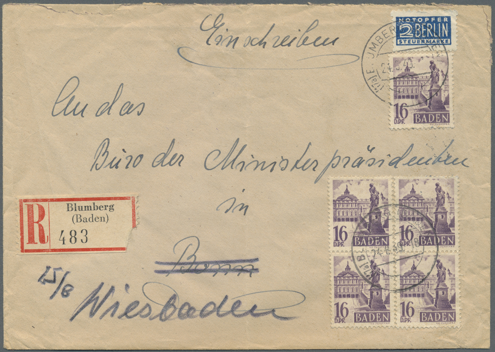 Lot 24930 - französische zone - baden  -  Auktionshaus Christoph Gärtner GmbH & Co. KG Single lots Germany + Picture Postcards. Auction #39 Day 5