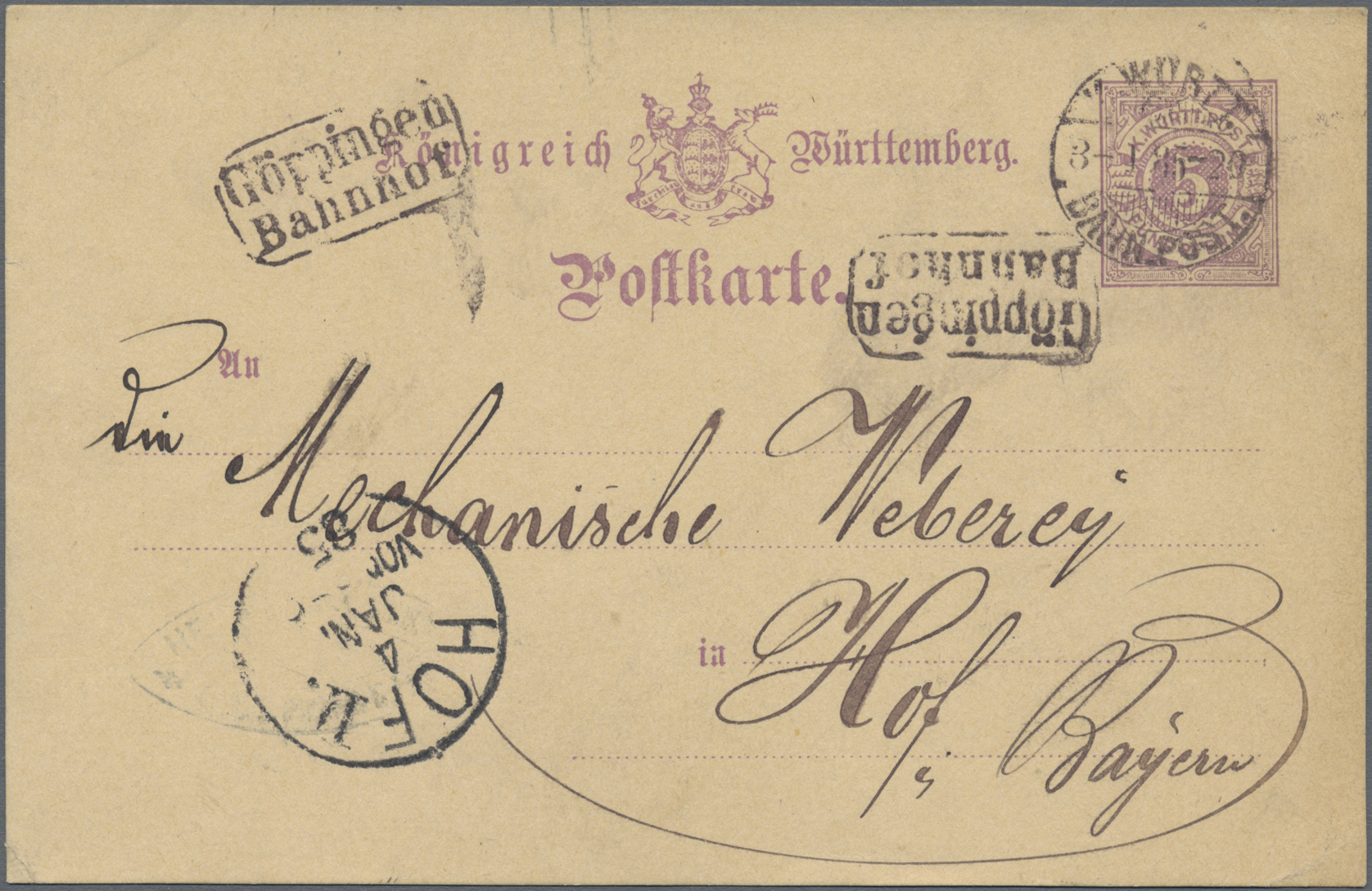 Lot 36361 - Württemberg - Bahnpost  -  Auktionshaus Christoph Gärtner GmbH & Co. KG Sale #44 Collections Germany