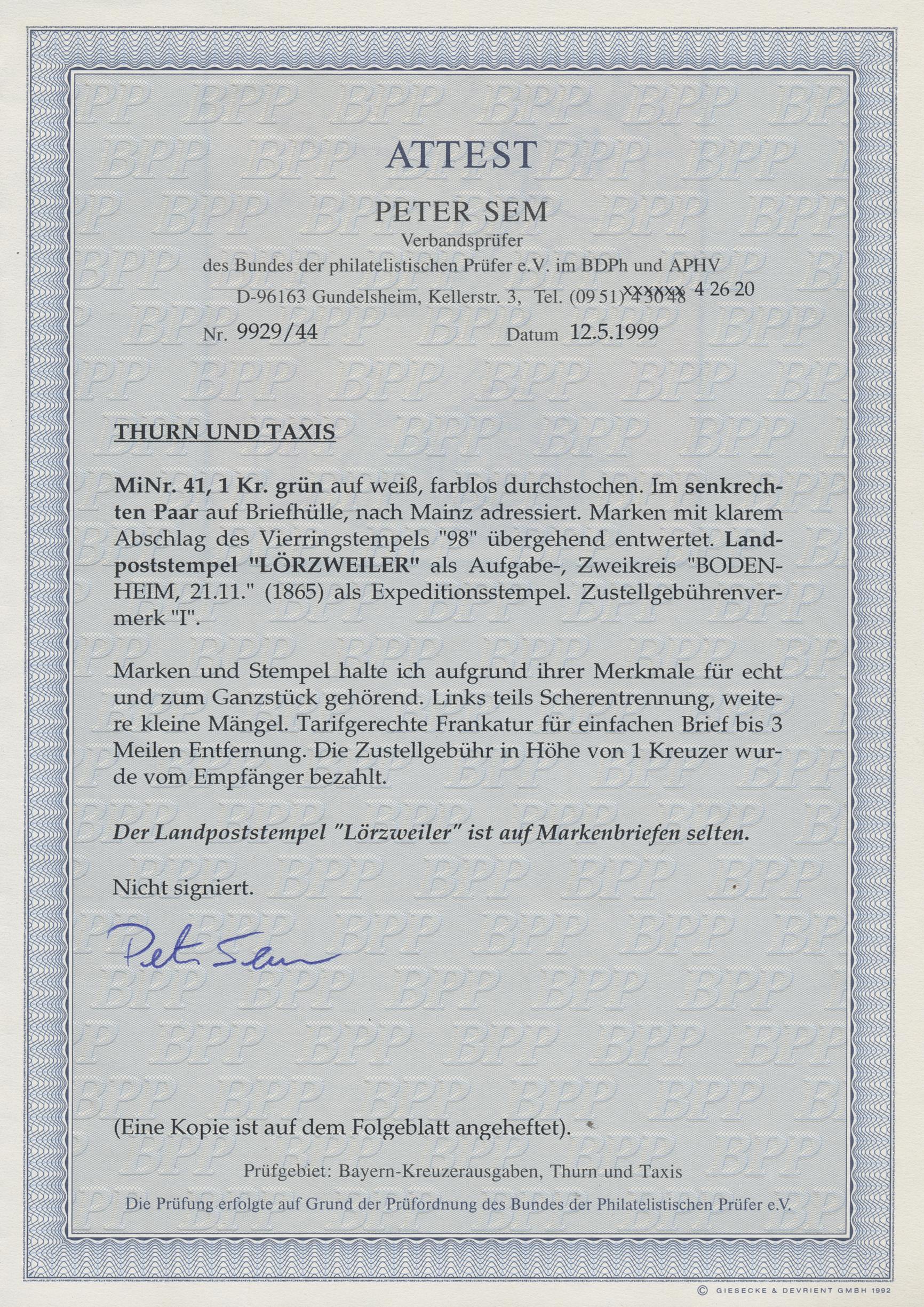 Lot 16450 - Thurn & Taxis - Landpoststempel  -  Auktionshaus Christoph Gärtner GmbH & Co. KG Sale #45- GERMANY