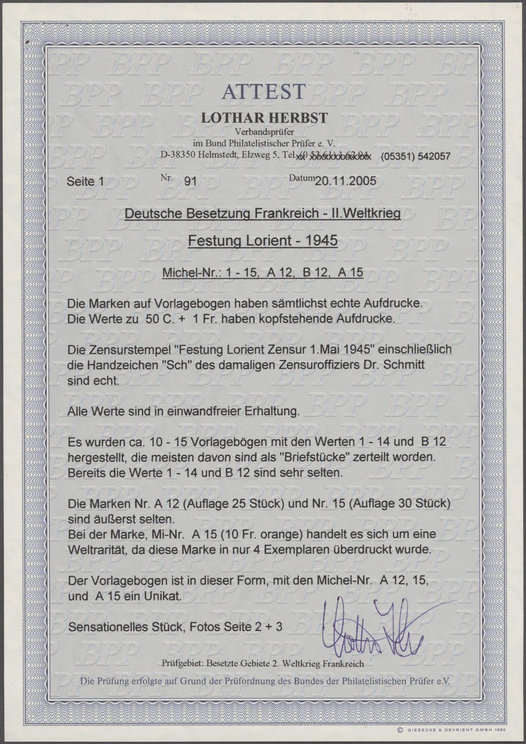 Lot 00784 - Dt. Besetzung II WK - Frankreich - Festung Lorient  -  Auktionshaus Christoph Gärtner GmbH & Co. KG 50th Auction Anniversary Auction - Day 8