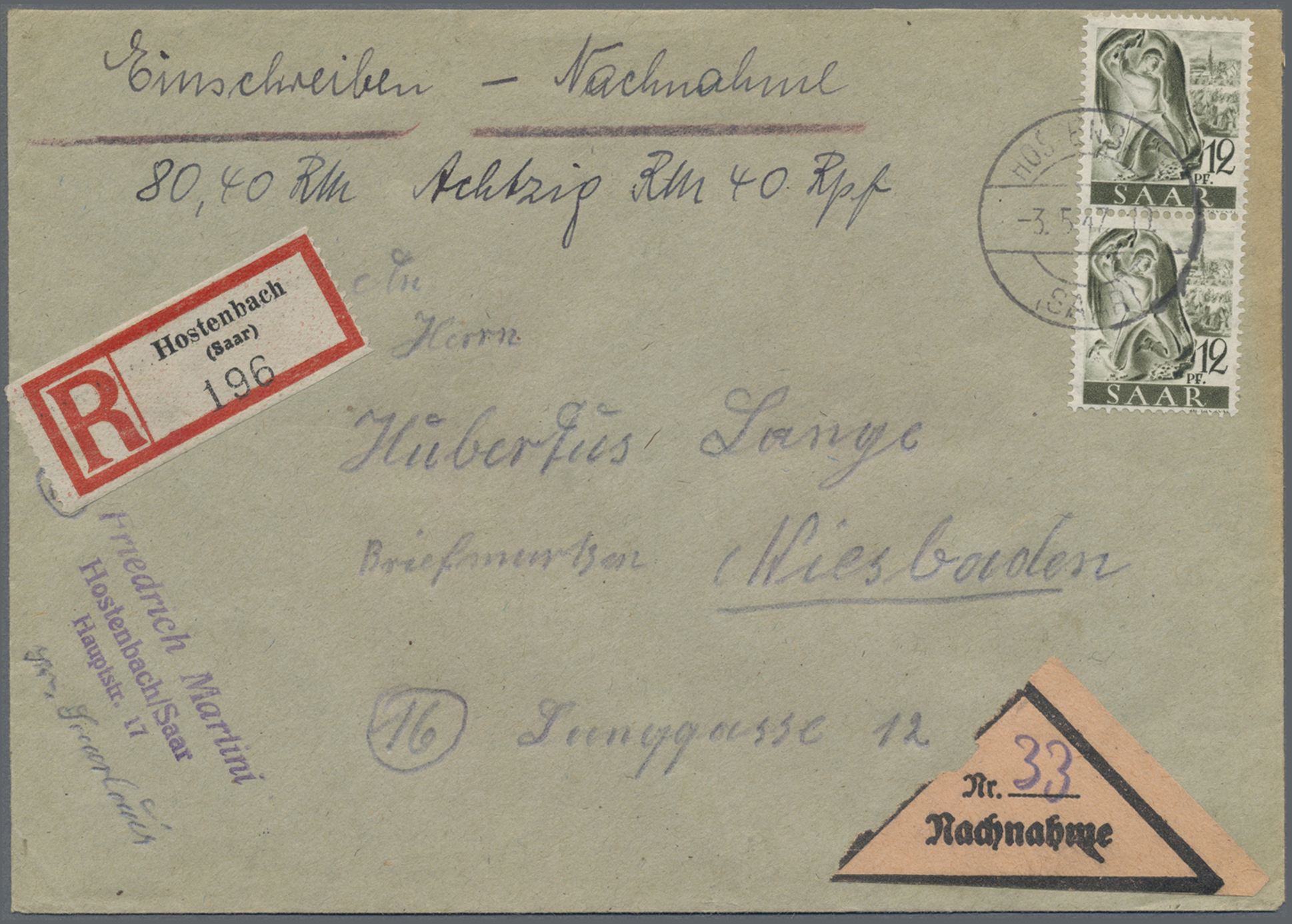 Lot 37171 - zensurpost  -  Auktionshaus Christoph Gärtner GmbH & Co. KG Sale #44 Collections Germany