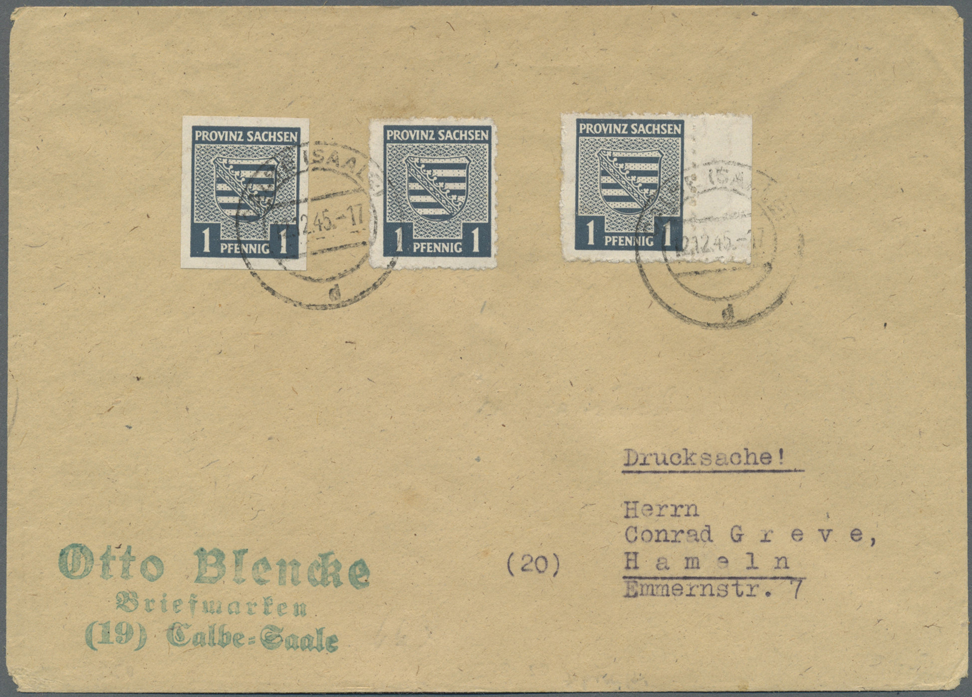 Lot 24119 - Sowjetische Zone - Provinz Sachsen  -  Auktionshaus Christoph Gärtner GmbH & Co. KG Single lots Germany + Picture Postcards. Auction #39 Day 5