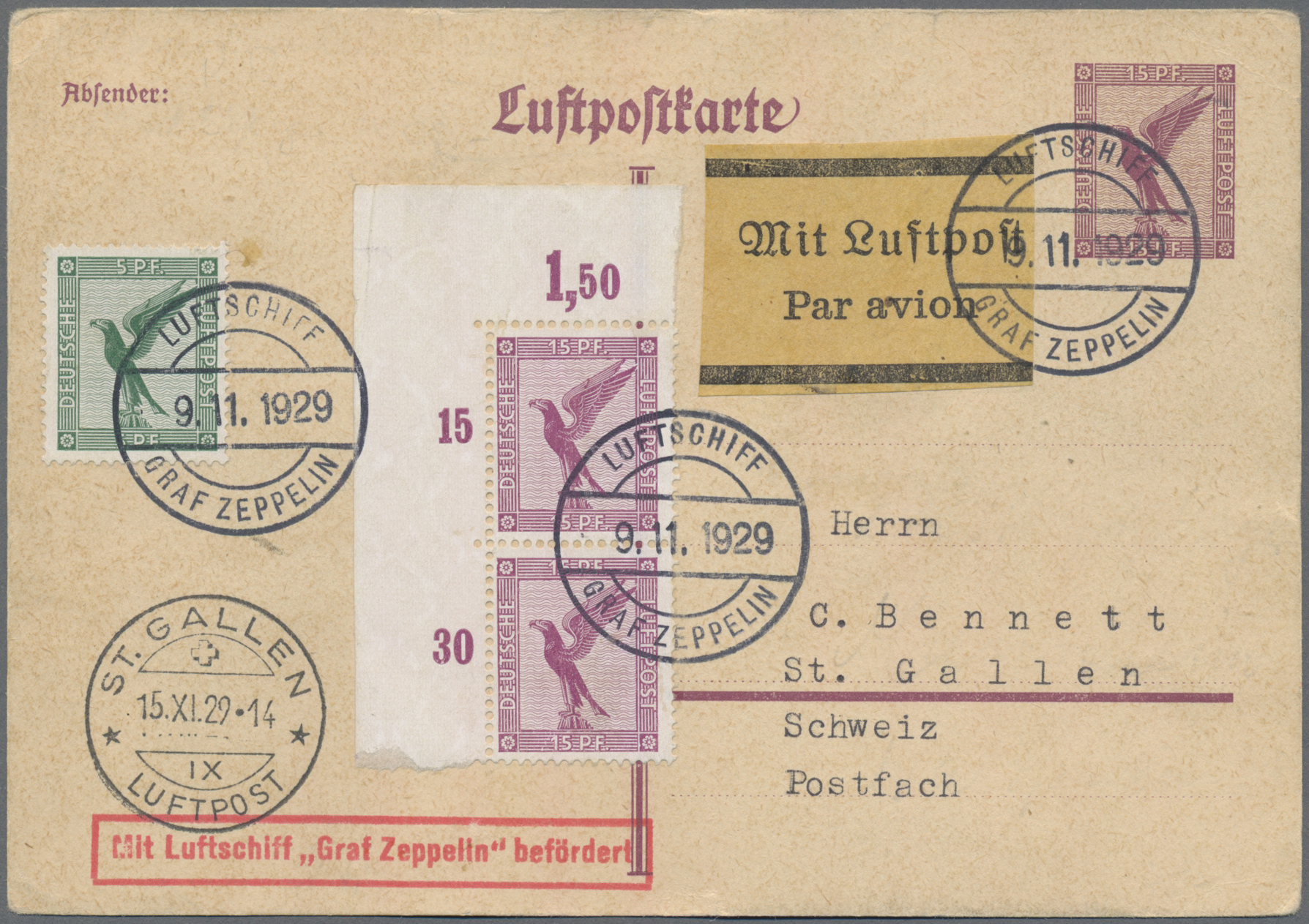 Lot 08537 - zeppelinpost europa  -  Auktionshaus Christoph Gärtner GmbH & Co. KG 50th Auction Anniversary Auction - Day 3