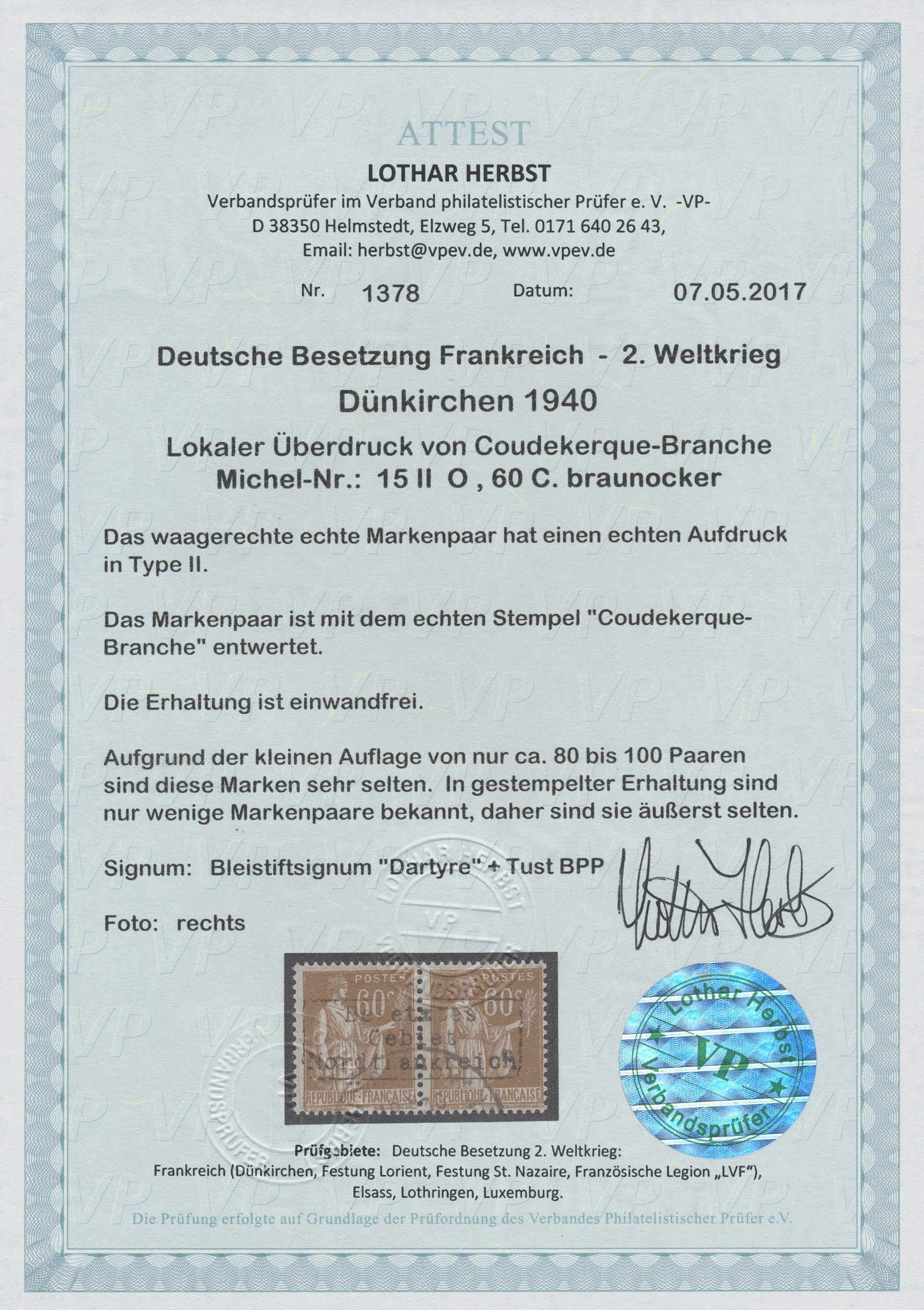 Lot 23289 - Dt. Besetzung II WK - Frankreich - Dünkirchen  -  Auktionshaus Christoph Gärtner GmbH & Co. KG Single lots Germany + Picture Postcards. Auction #39 Day 5