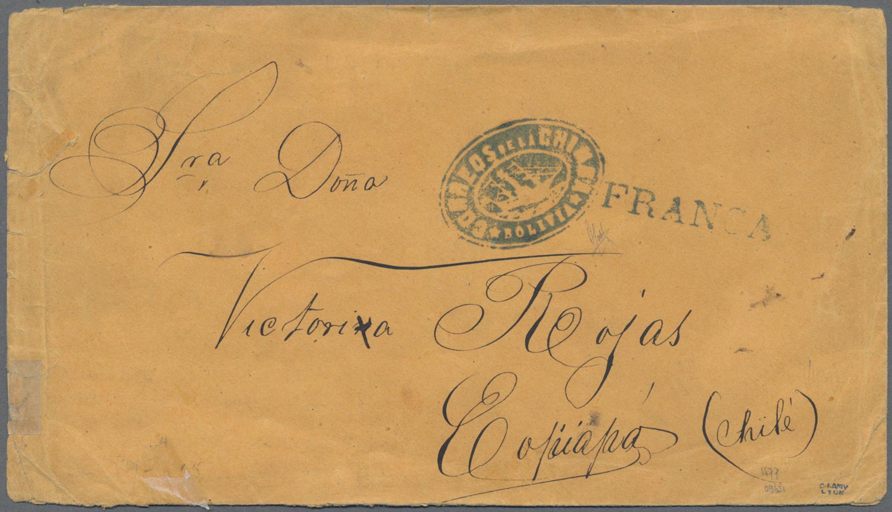 Lot 07143 - Bolivien - Vorphila / Stampless Covers  -  Auktionshaus Christoph Gärtner GmbH & Co. KG Sale #48 The Single Lots Philatelie