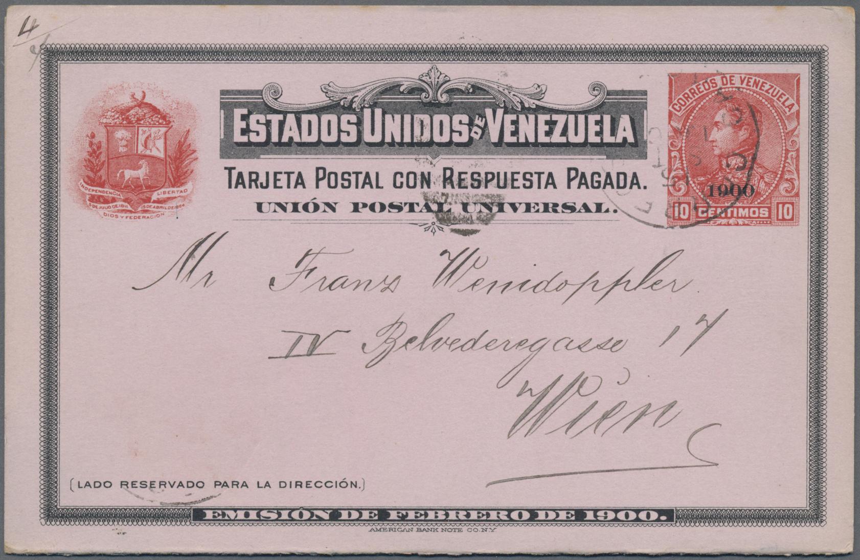 Lot 14675 - Venezuela - Ganzsachen  -  Auktionshaus Christoph Gärtner GmbH & Co. KG Sale #48 collections Overseas  Airmail / Ship mail & Thematics