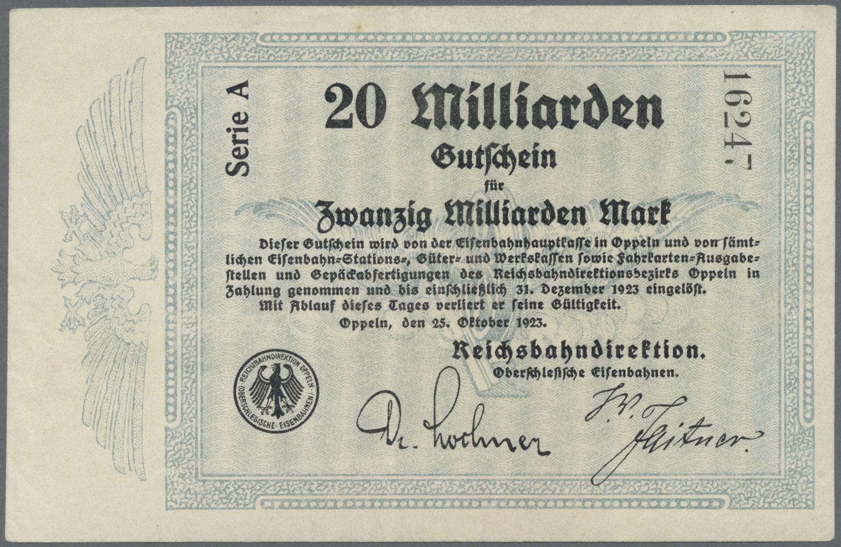 Lot 01420 - Deutschland - Reichsbahn / Reichspost | Banknoten  -  Auktionshaus Christoph Gärtner GmbH & Co. KG Sale #48 The Banknotes
