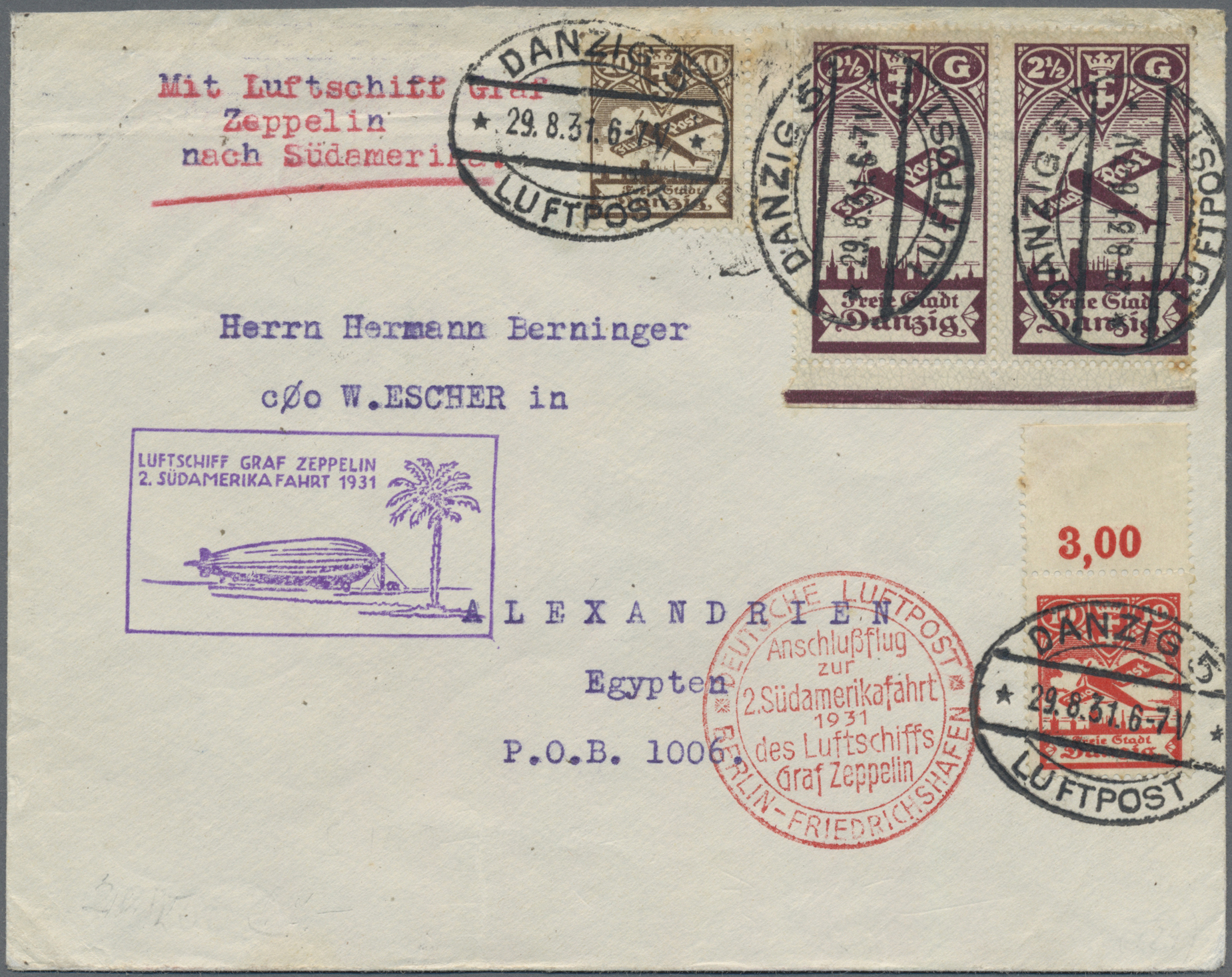 Lot 13491A - zeppelinpost deutschland  -  Auktionshaus Christoph Gärtner GmbH & Co. KG Sale #43 Asia, Overseas, Air & Ships, Mail, Spain, Day 4