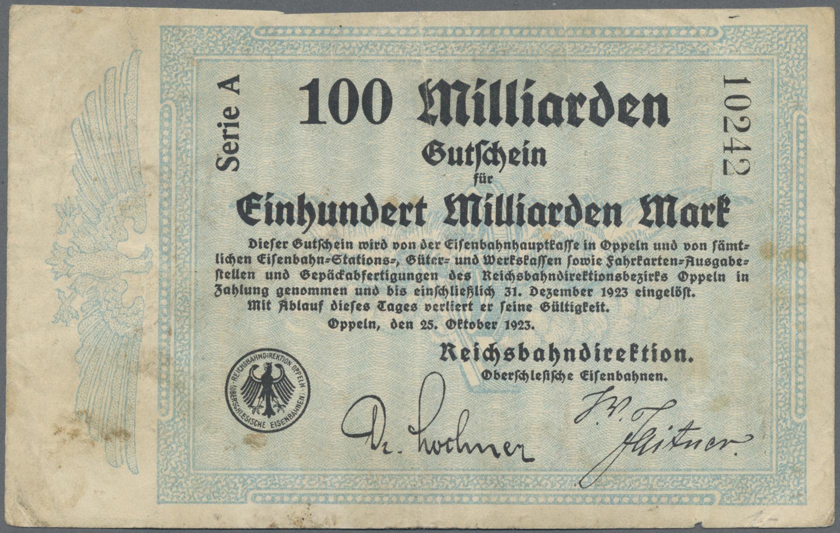 Lot 01422 - Deutschland - Reichsbahn / Reichspost | Banknoten  -  Auktionshaus Christoph Gärtner GmbH & Co. KG Sale #48 The Banknotes