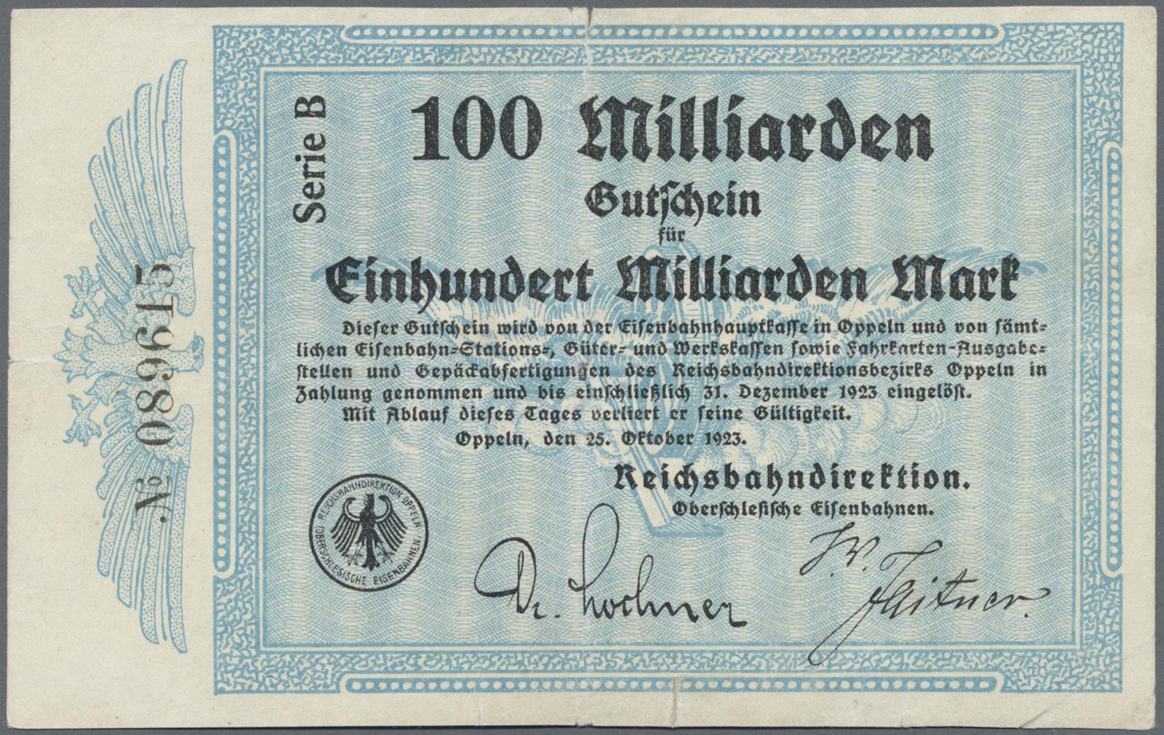 Lot 01421 - Deutschland - Reichsbahn / Reichspost | Banknoten  -  Auktionshaus Christoph Gärtner GmbH & Co. KG Sale #48 The Banknotes