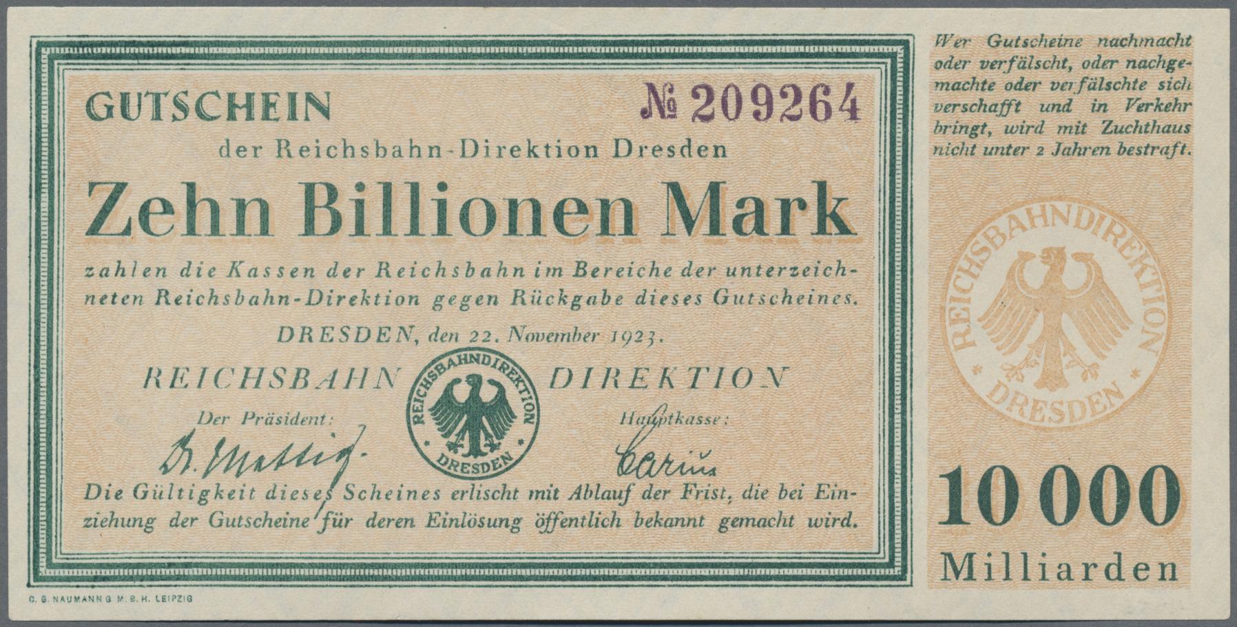Lot 01400 - Deutschland - Reichsbahn / Reichspost | Banknoten  -  Auktionshaus Christoph Gärtner GmbH & Co. KG Sale #48 The Banknotes