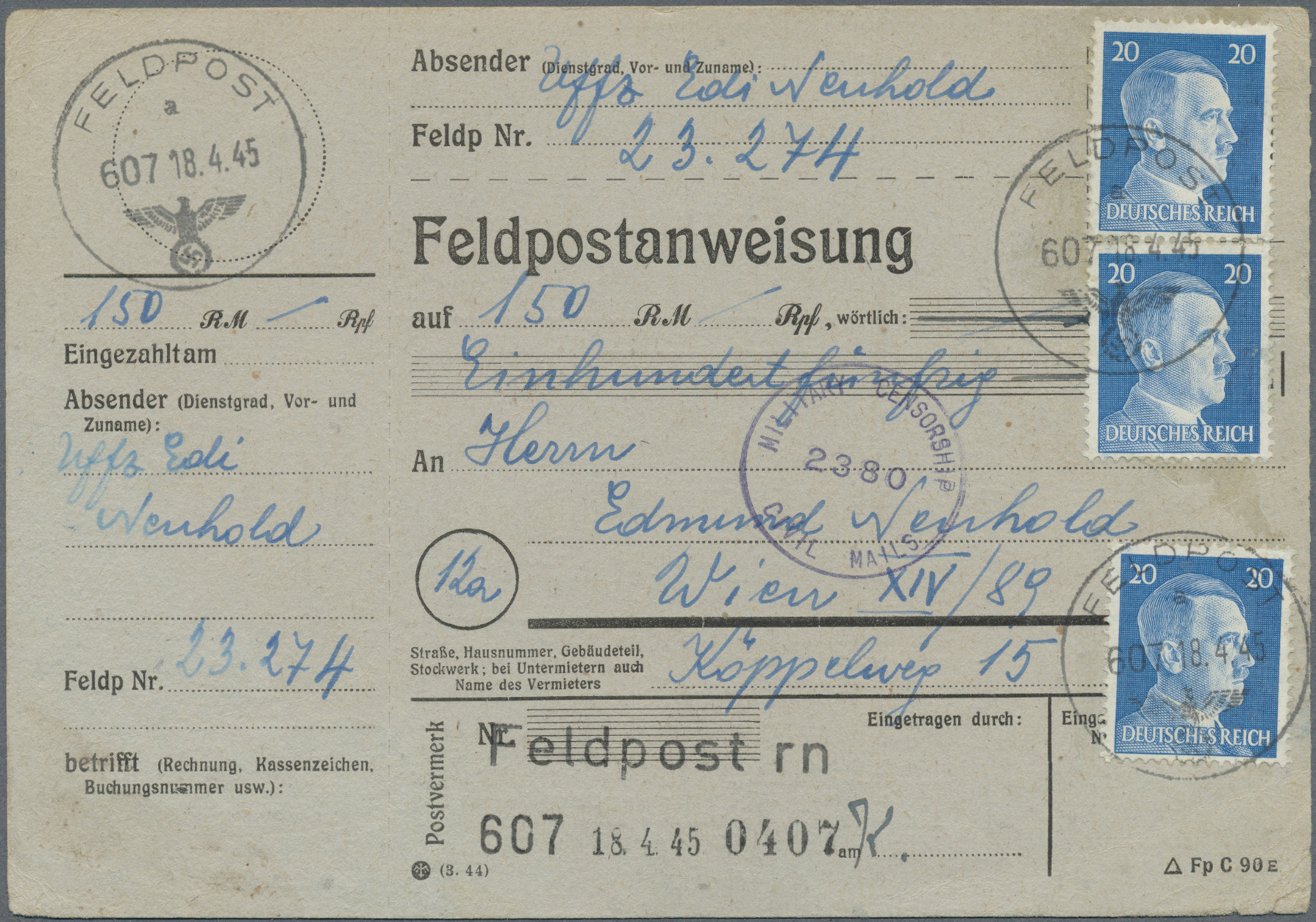 Lot 32035 - feldpost 2. weltkrieg  -  Auktionshaus Christoph Gärtner GmbH & Co. KG Auction #40 Collections Germany, Wunderkartons