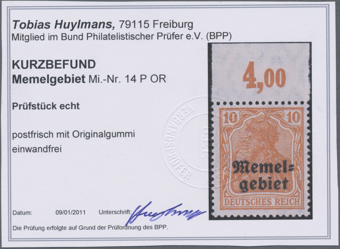 Lot 01018 - Memel  -  Auktionshaus Christoph Gärtner GmbH & Co. KG 50th Auction Anniversary Auction - Day 3