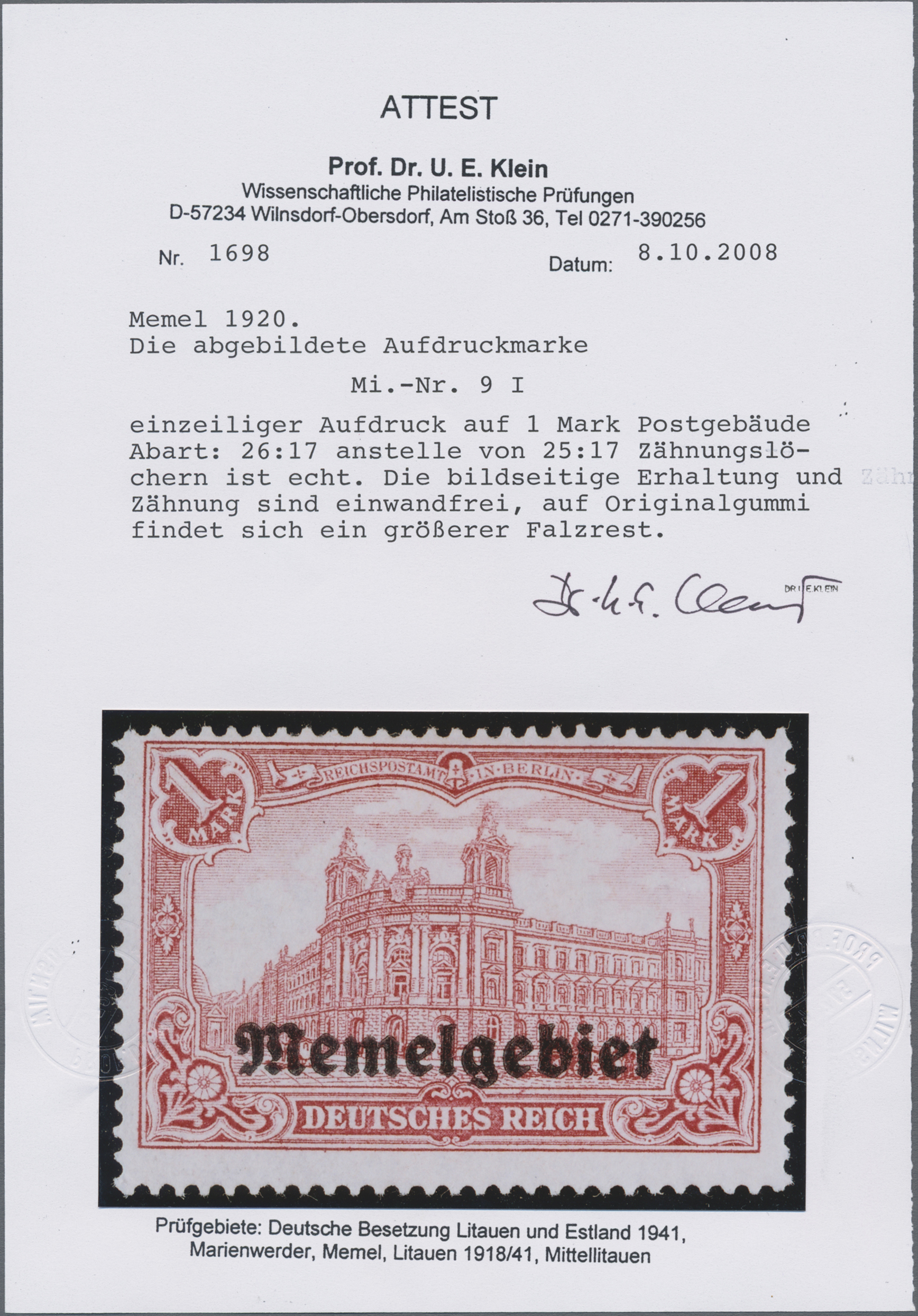 Lot 01009 - Memel  -  Auktionshaus Christoph Gärtner GmbH & Co. KG 50th Auction Anniversary Auction - Day 3