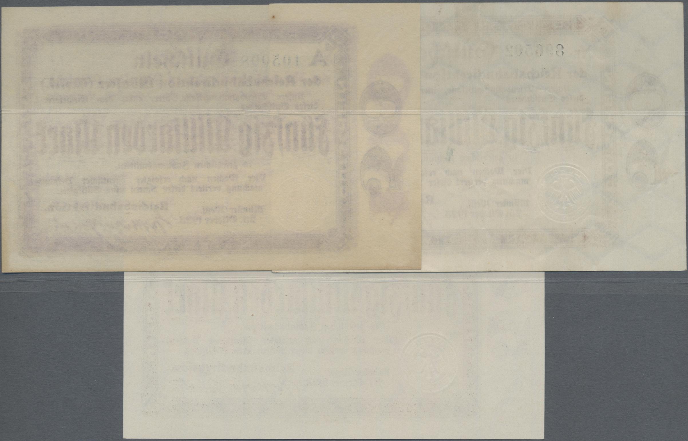 Lot 01410 - Deutschland - Reichsbahn / Reichspost | Banknoten  -  Auktionshaus Christoph Gärtner GmbH & Co. KG Sale #48 The Banknotes