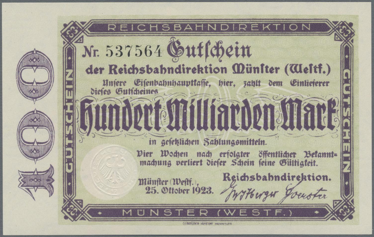 Lot 01411 - Deutschland - Reichsbahn / Reichspost   Banknoten  -  Auktionshaus Christoph Gärtner GmbH & Co. KG Sale #48 The Banknotes