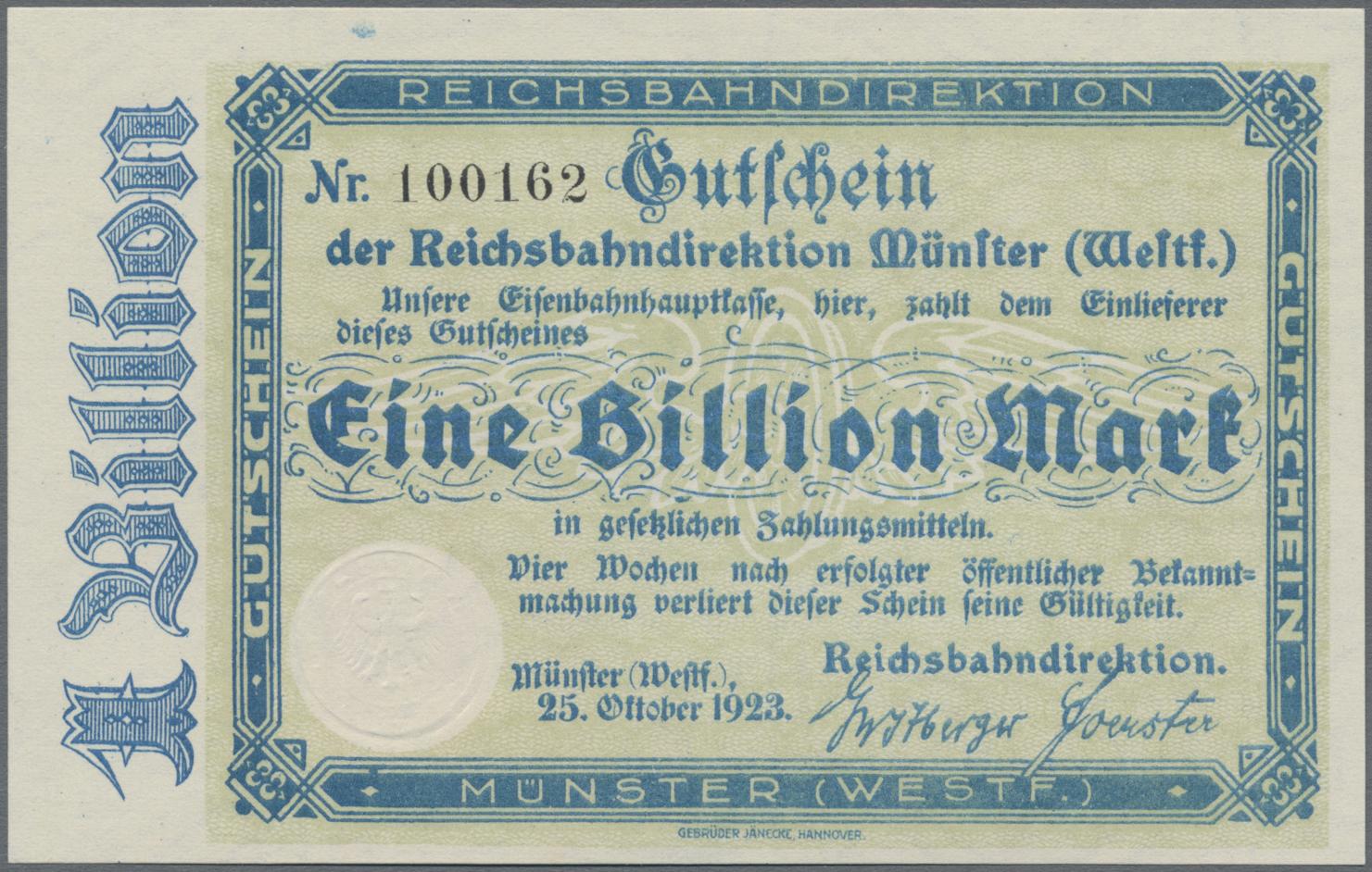 Lot 01415 - Deutschland - Reichsbahn / Reichspost | Banknoten  -  Auktionshaus Christoph Gärtner GmbH & Co. KG Sale #48 The Banknotes