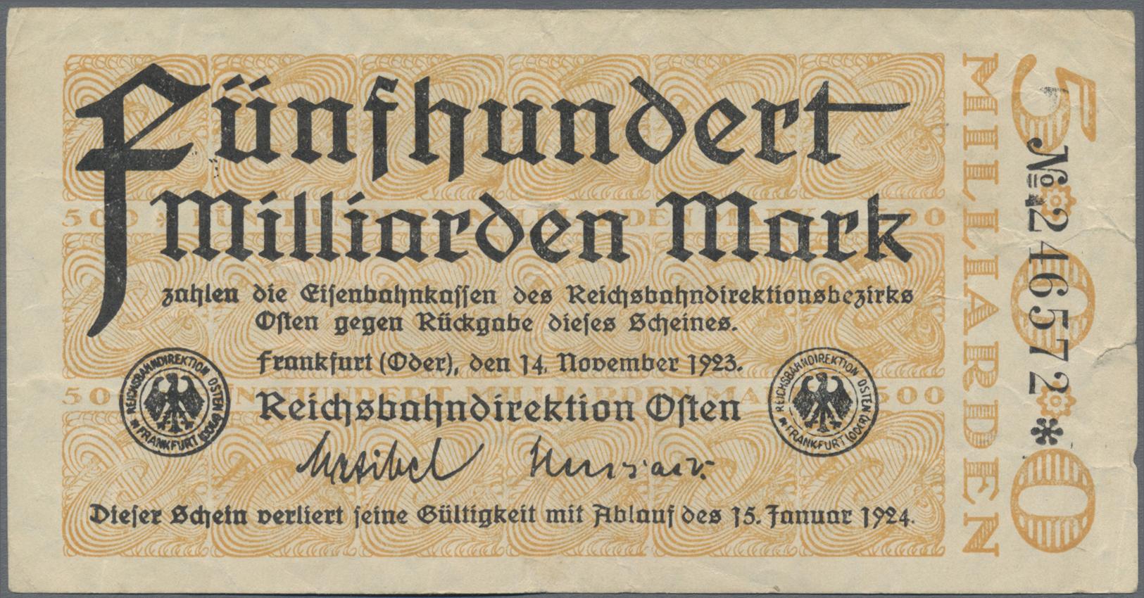 Lot 01401 - Deutschland - Reichsbahn / Reichspost | Banknoten  -  Auktionshaus Christoph Gärtner GmbH & Co. KG Sale #48 The Banknotes