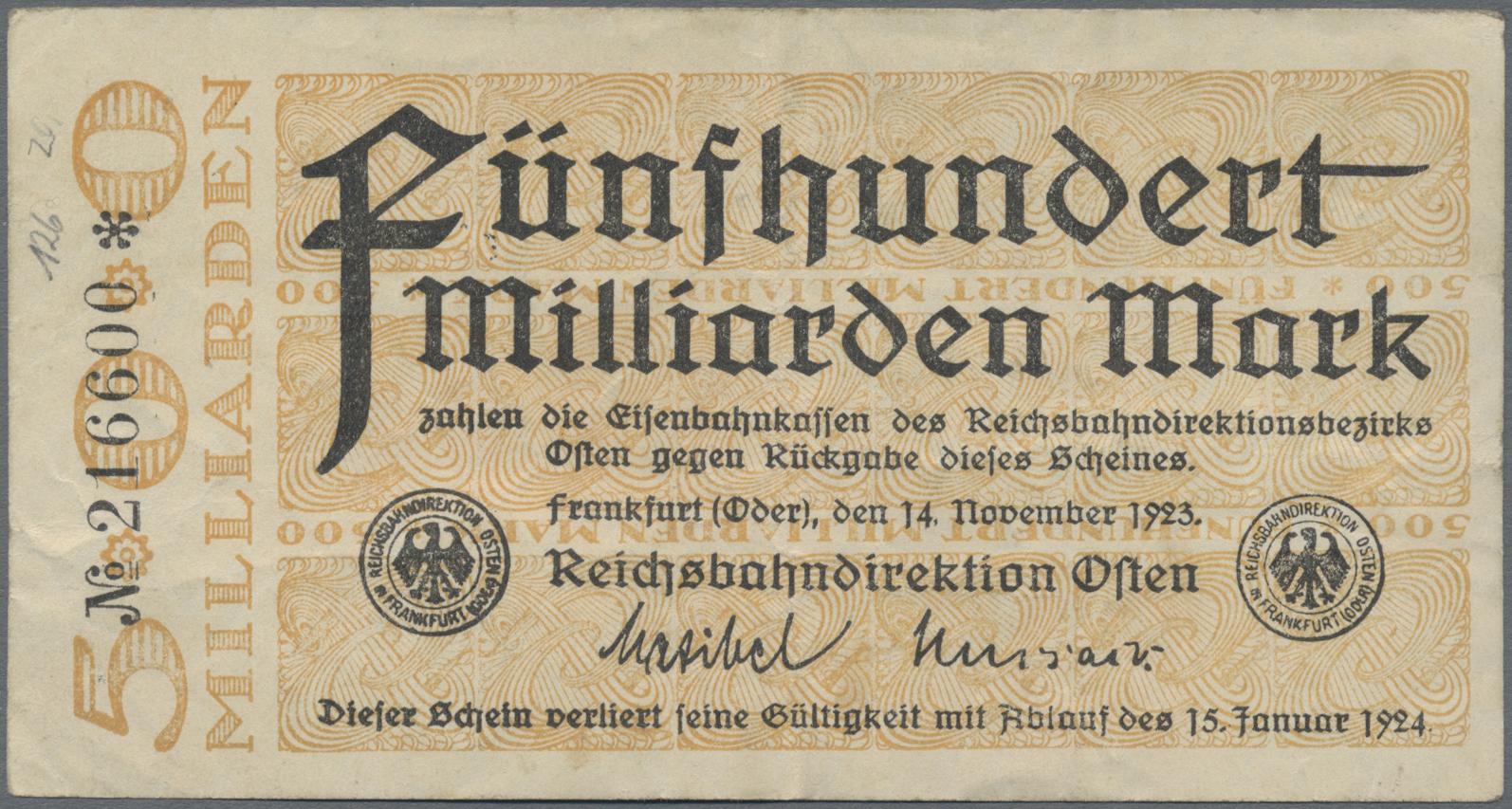 Lot 01402 - Deutschland - Reichsbahn / Reichspost | Banknoten  -  Auktionshaus Christoph Gärtner GmbH & Co. KG Sale #48 The Banknotes
